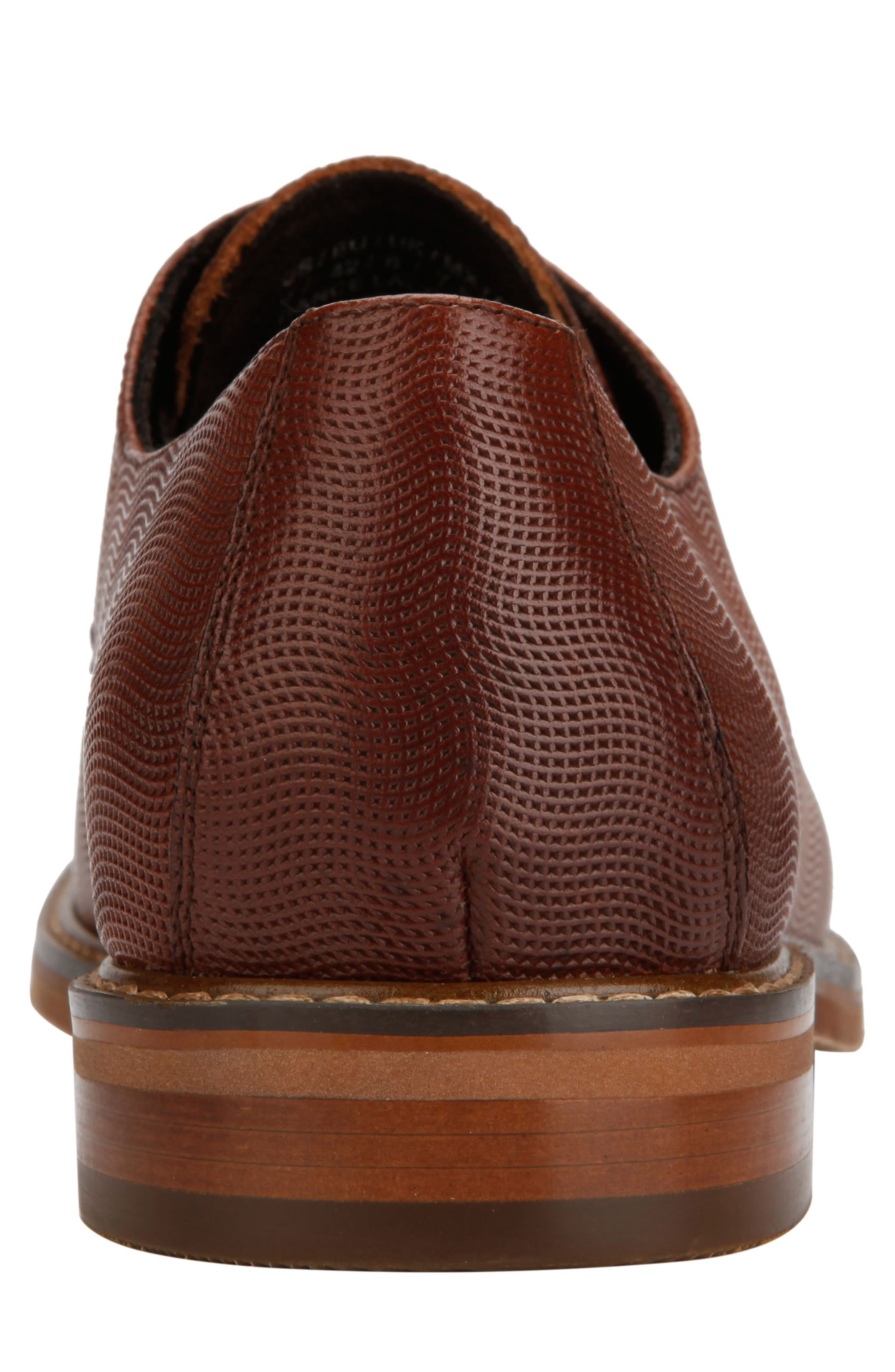 KENNETH COLE NEW YORK, Dance Textured Plain Toe Derby, Alternate thumbnail 5, color, COGNAC EMBOSSED LEATHER