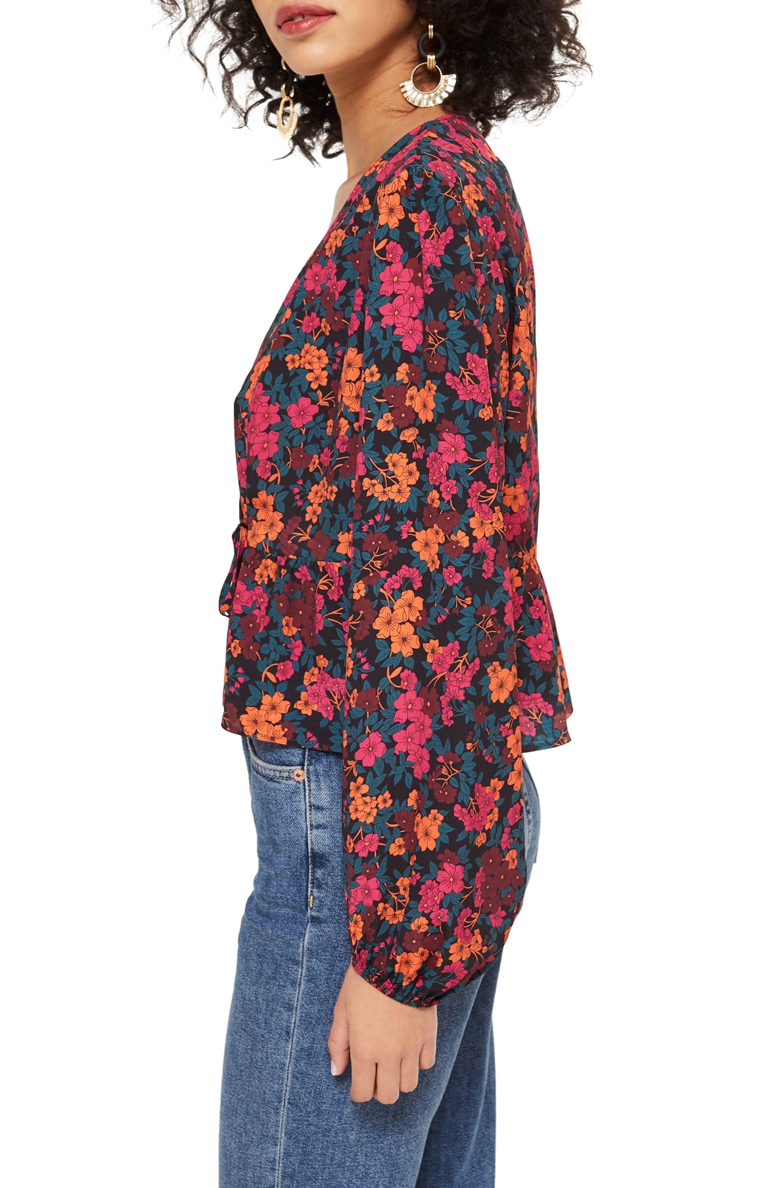 TOPSHOP, Grand Estate Floral Blouse, Alternate thumbnail 3, color, 600