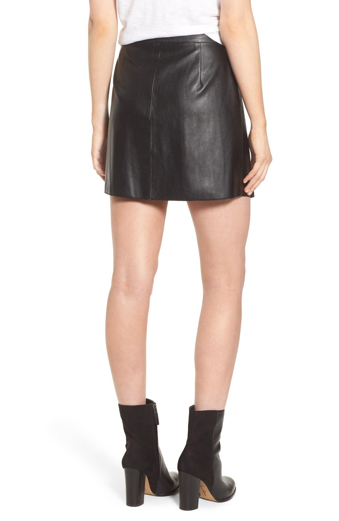 1.STATE, Faux Leather Wrap Skirt, Alternate thumbnail 3, color, 006