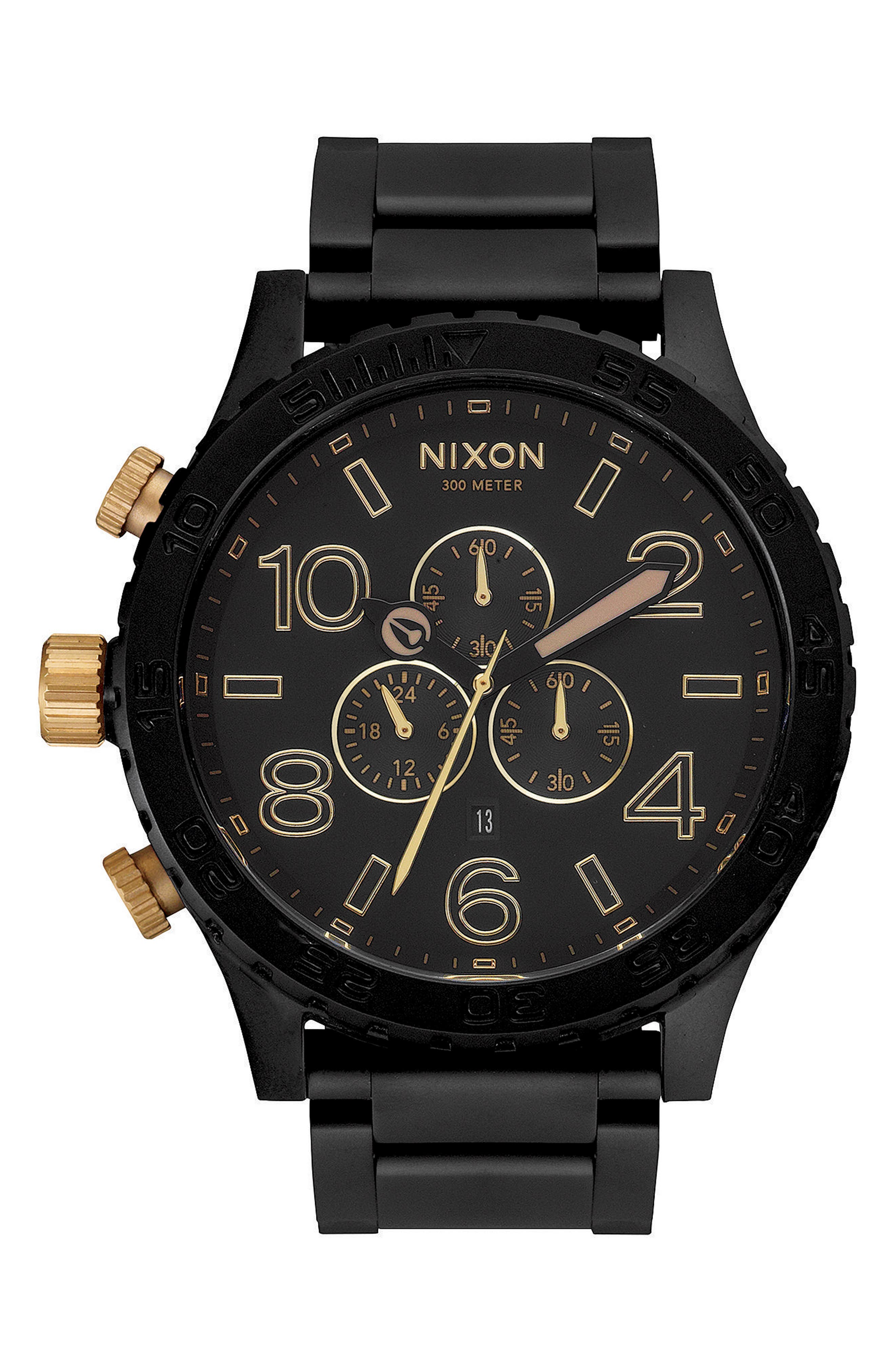 NIXON, 'The 51-30 Chrono' Watch, 51mm, Main thumbnail 1, color, MATTE BLACK/ GOLD
