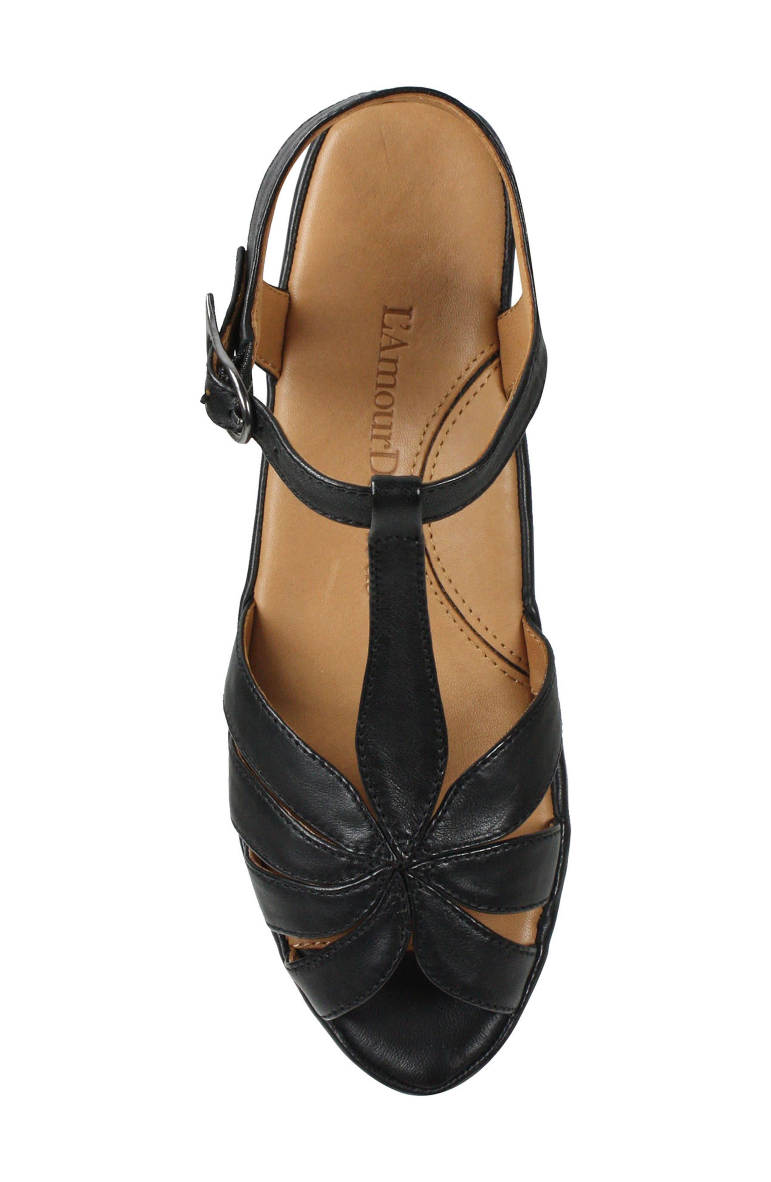 L'AMOUR DES PIEDS, Boquin Sandal, Alternate thumbnail 4, color, BLACK LEATHER