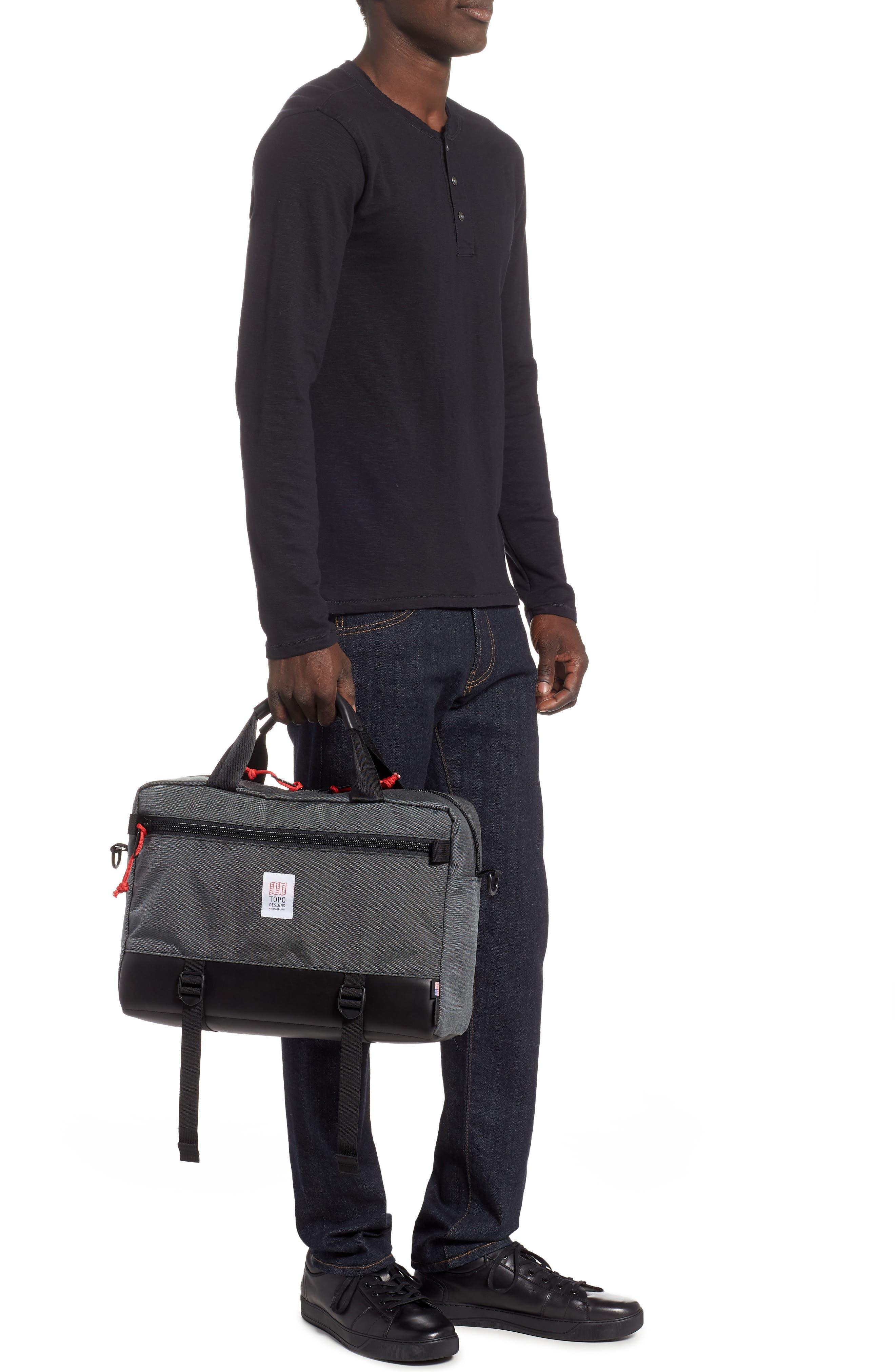 TOPO DESIGNS, 'Commuter' Briefcase, Alternate thumbnail 2, color, CHARCOAL/BLACK LEATHER