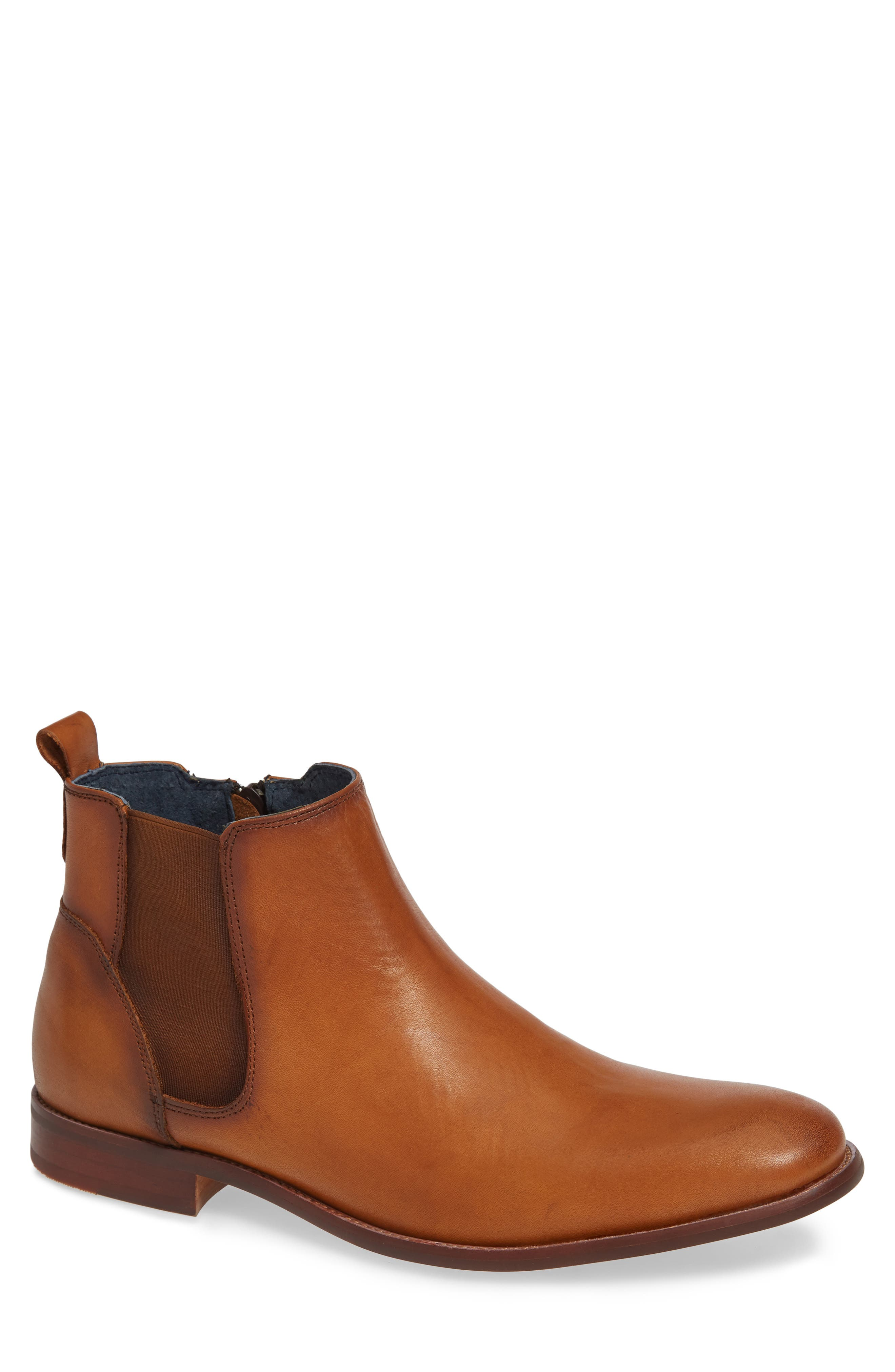 JUMP Collin Plain Toe Chelsea Boot, Main, color, TAN