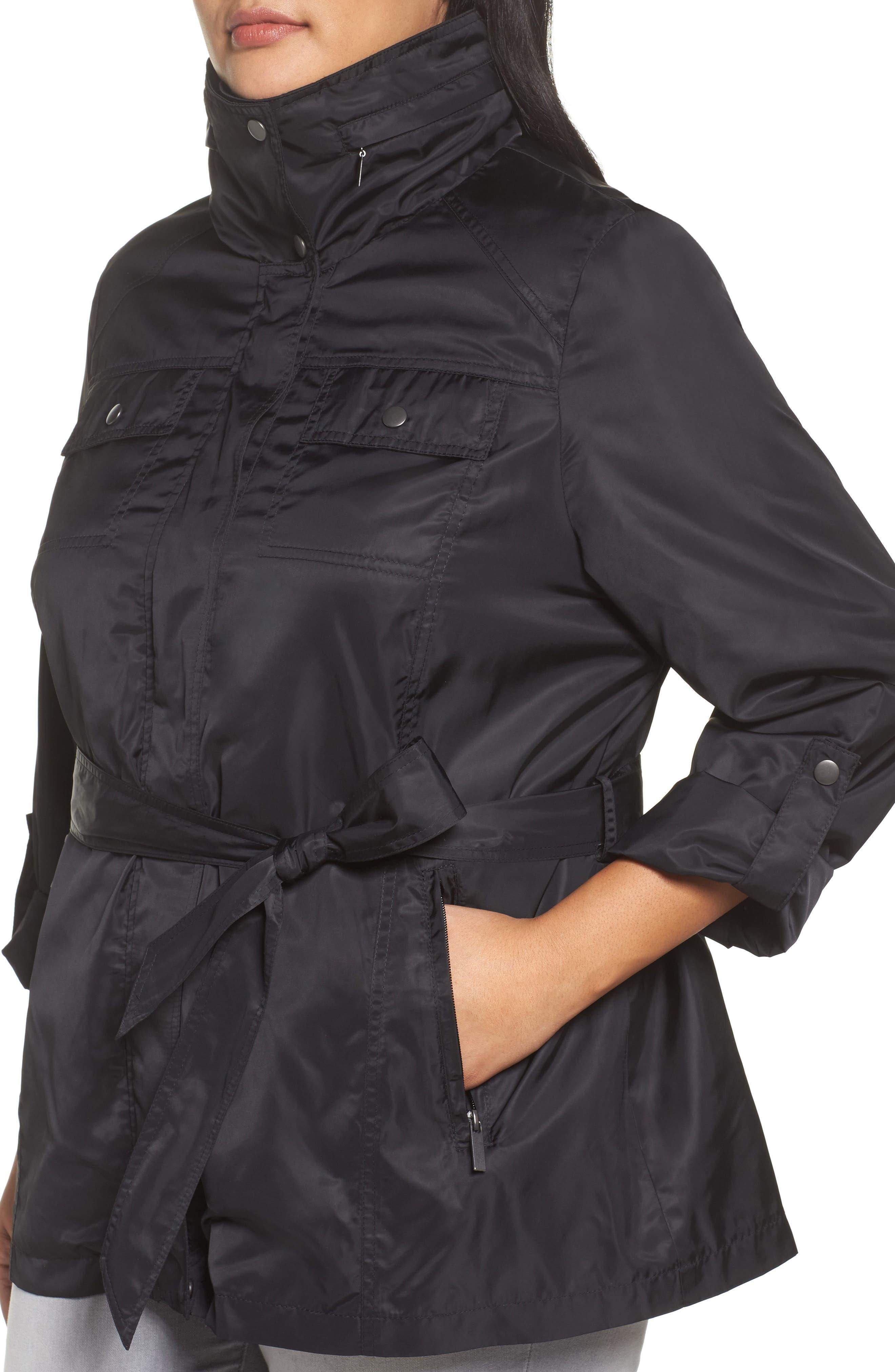HALOGEN<SUP>®</SUP>, Belted Lightweight Jacket, Alternate thumbnail 5, color, BLACK