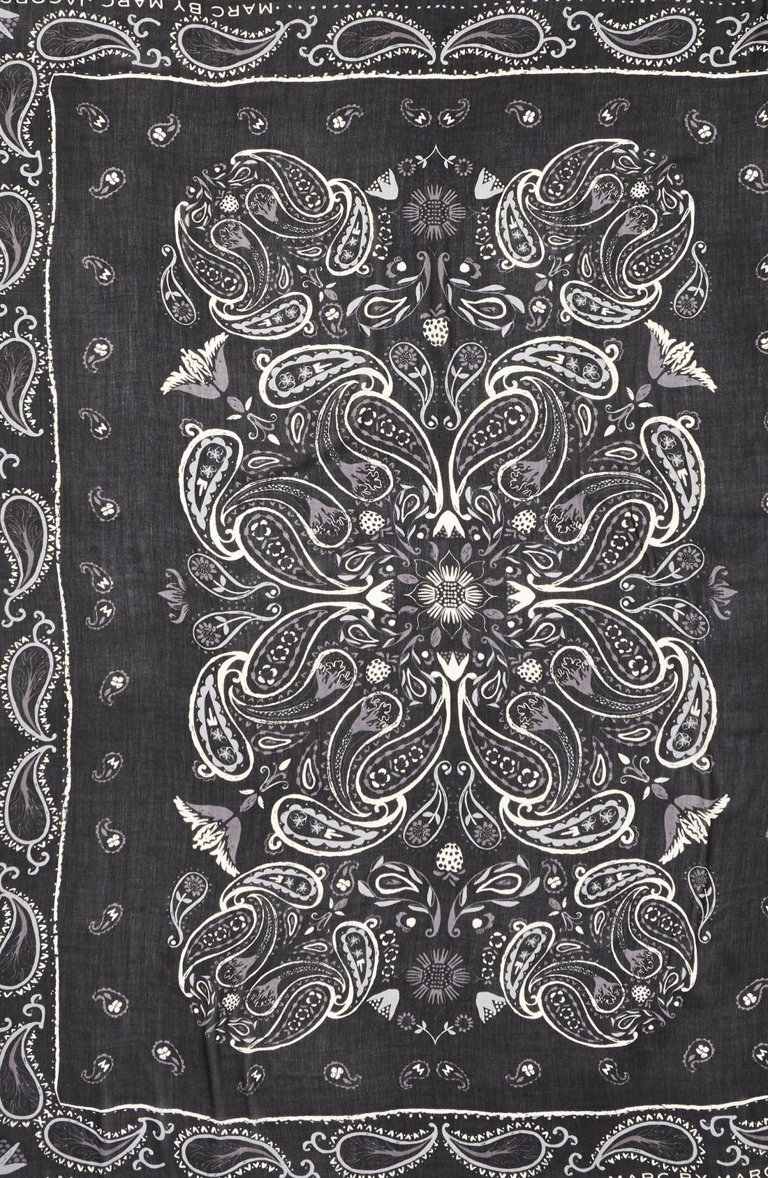 MARC JACOBS, MARC BY MARC JACOBS 'William' Paisley PrintScarf, Alternate thumbnail 2, color, 001