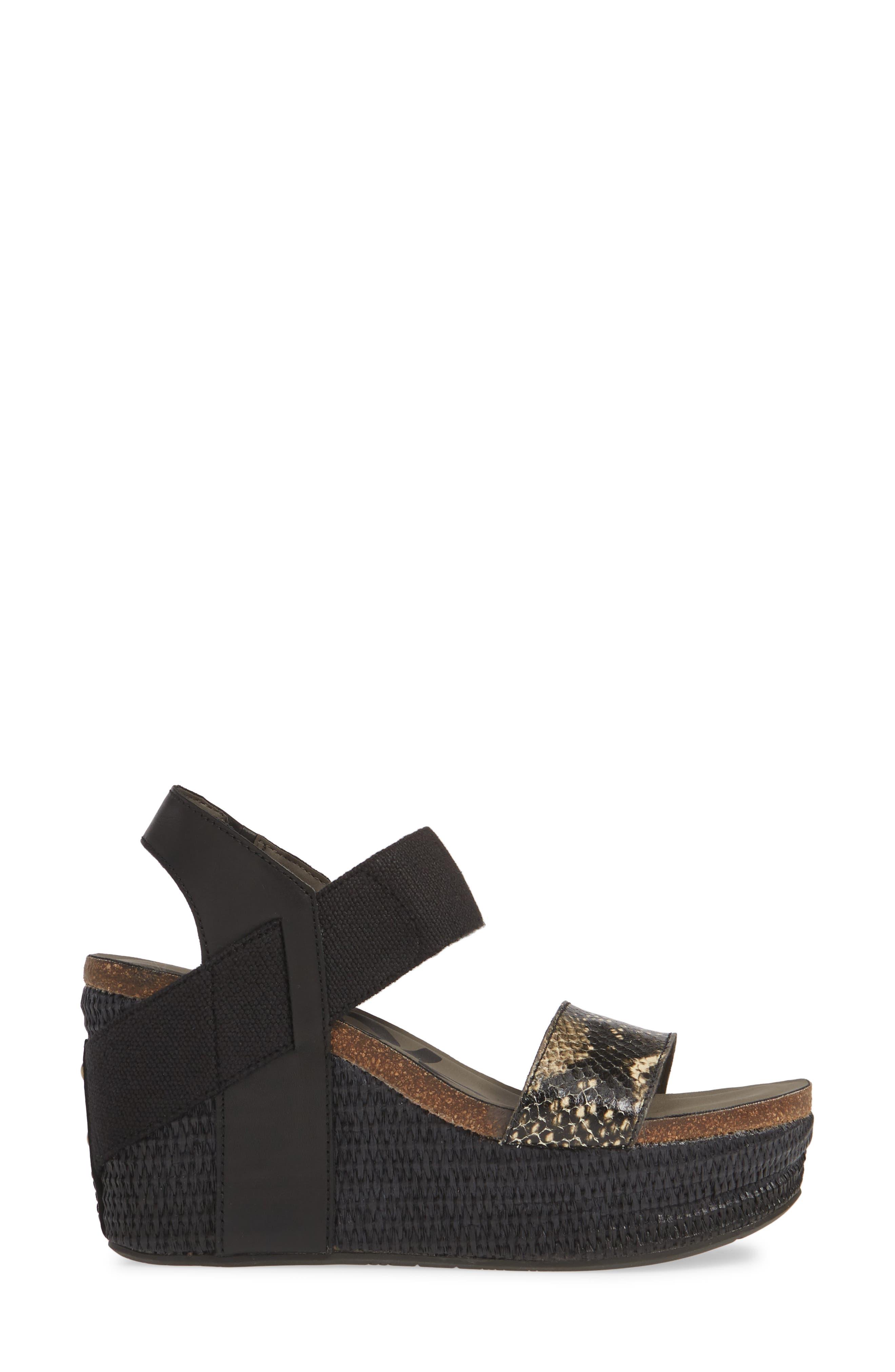 OTBT, 'Bushnell' Wedge Sandal, Alternate thumbnail 3, color, BLACK/ BLACK LEATHER