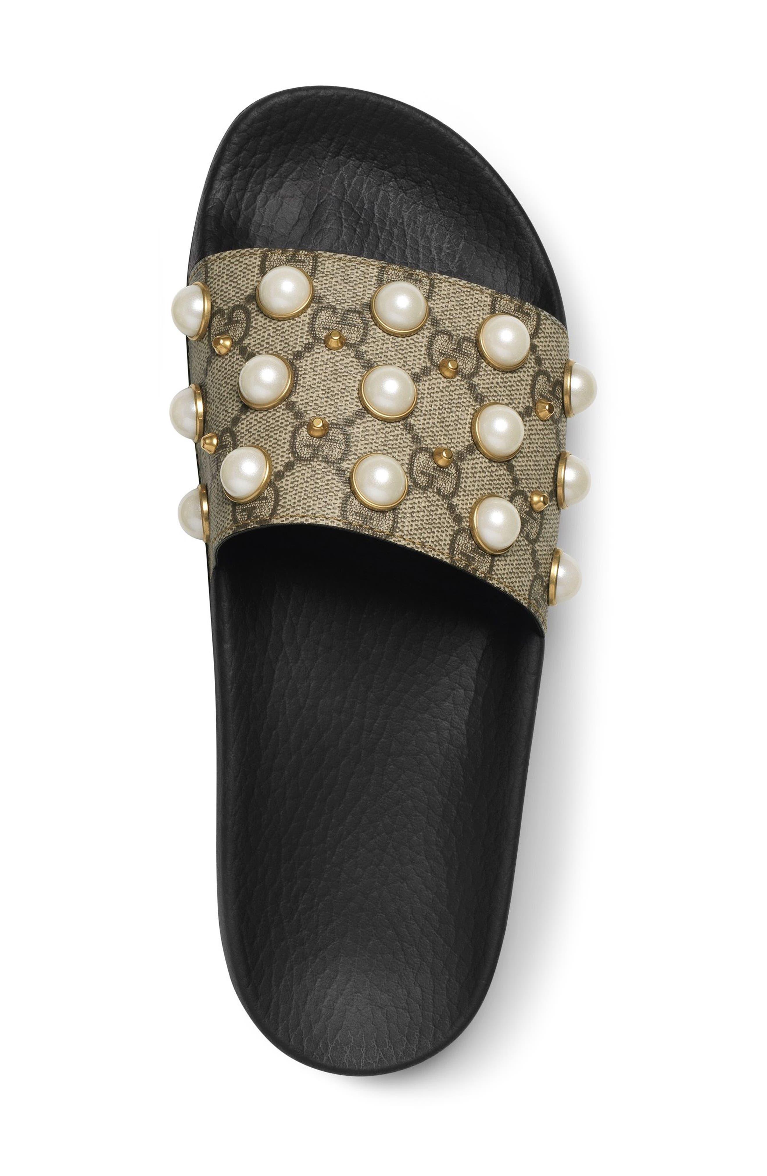 GUCCI, Pursuit Imitation Pearl Embellished Slide Sandal, Alternate thumbnail 3, color, BEIGE