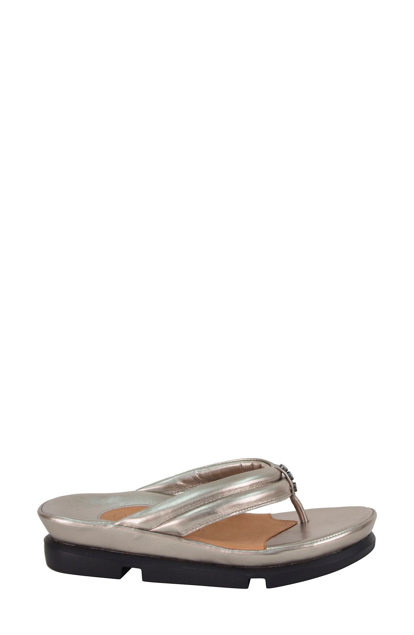 L'AMOUR DES PIEDS, Villapapavero Flip Flop, Alternate thumbnail 3, color, PEWTER LEATHER