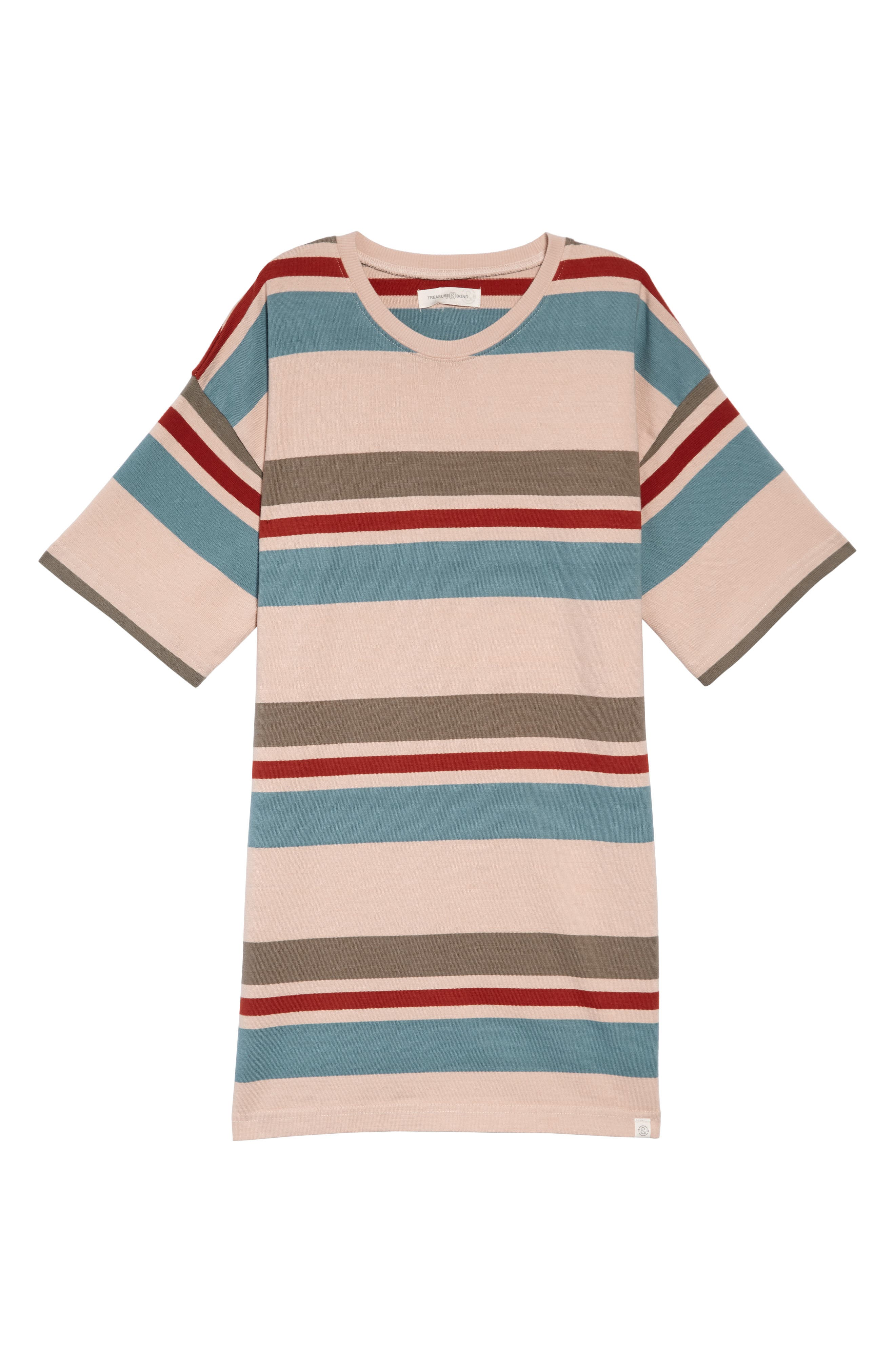 TREASURE & BOND, Rugby Stripe Shirtdress, Main thumbnail 1, color, PINK PEACH RUGBY STRIPE