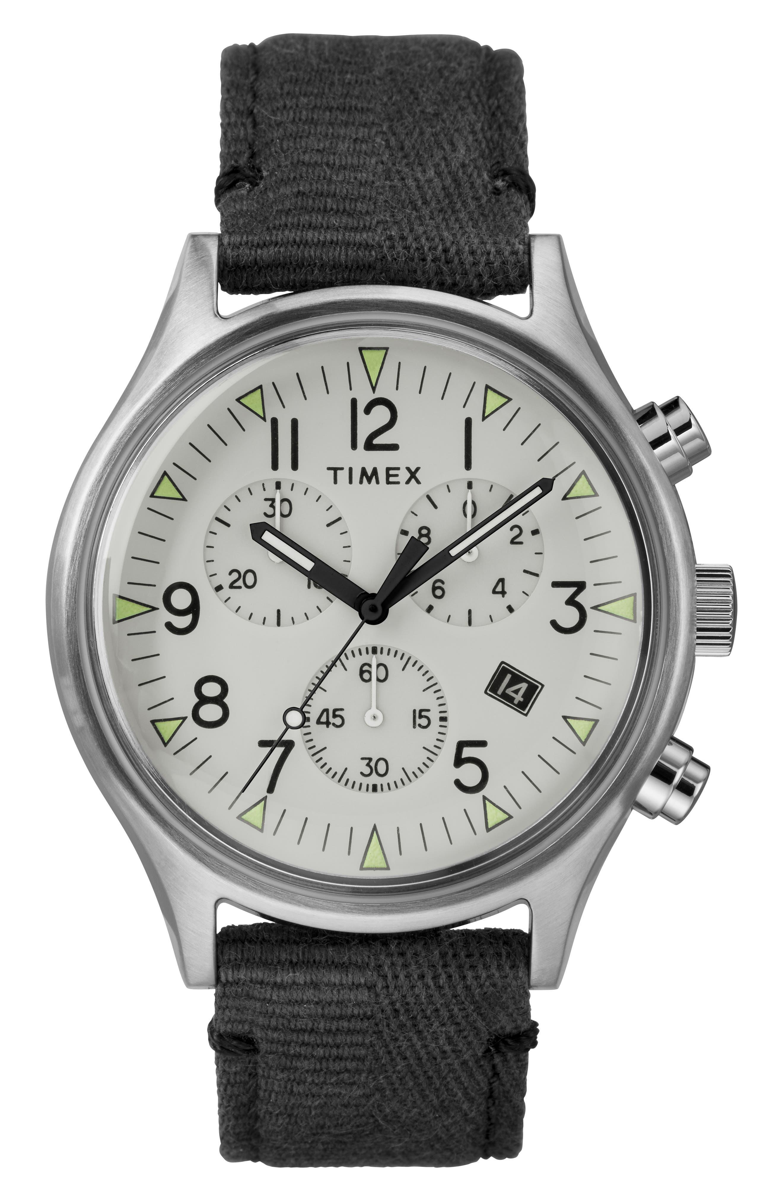 TIMEX<SUP>®</SUP>, MK1 Chronograph Fabric Strap Watch, 42mm, Main thumbnail 1, color, BLACK/ WHITE/ SILVER
