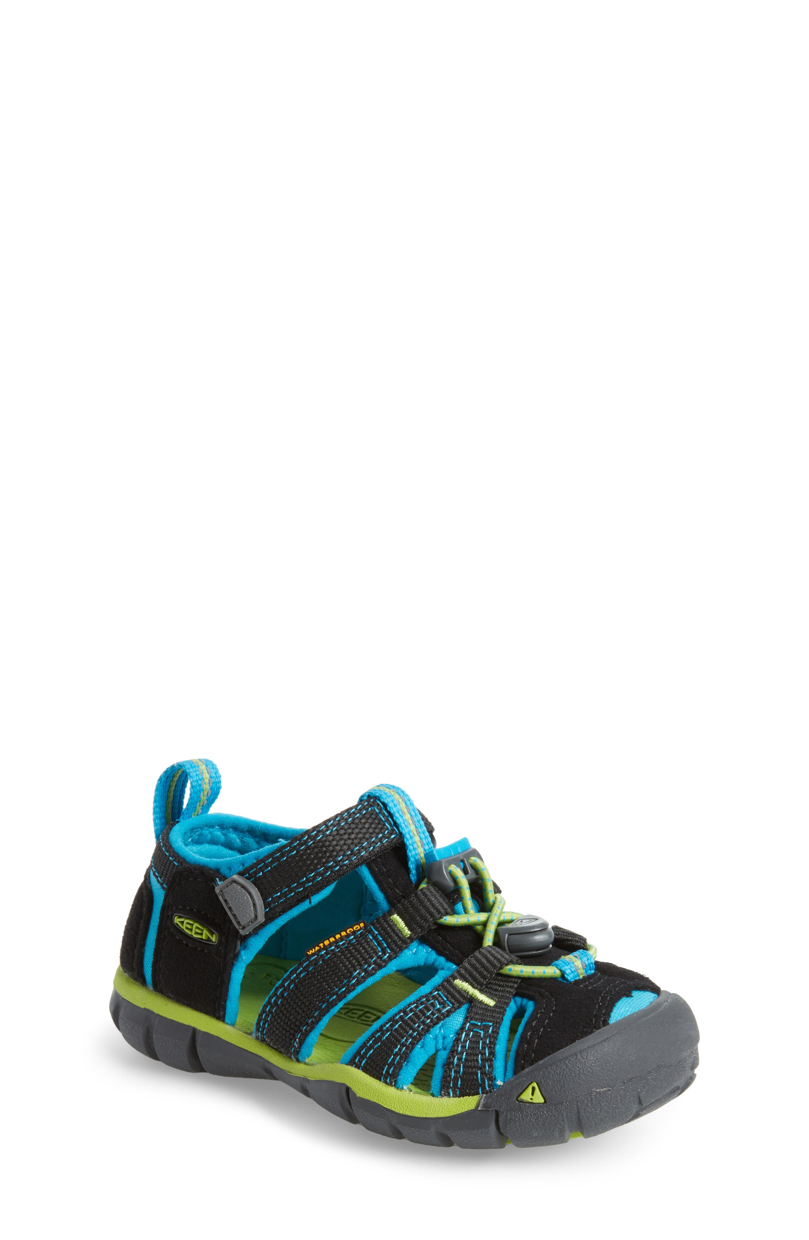 KEEN, 'Seacamp II' Water Friendly Sandal, Main thumbnail 1, color, BLACK/ BLUE DANUBE