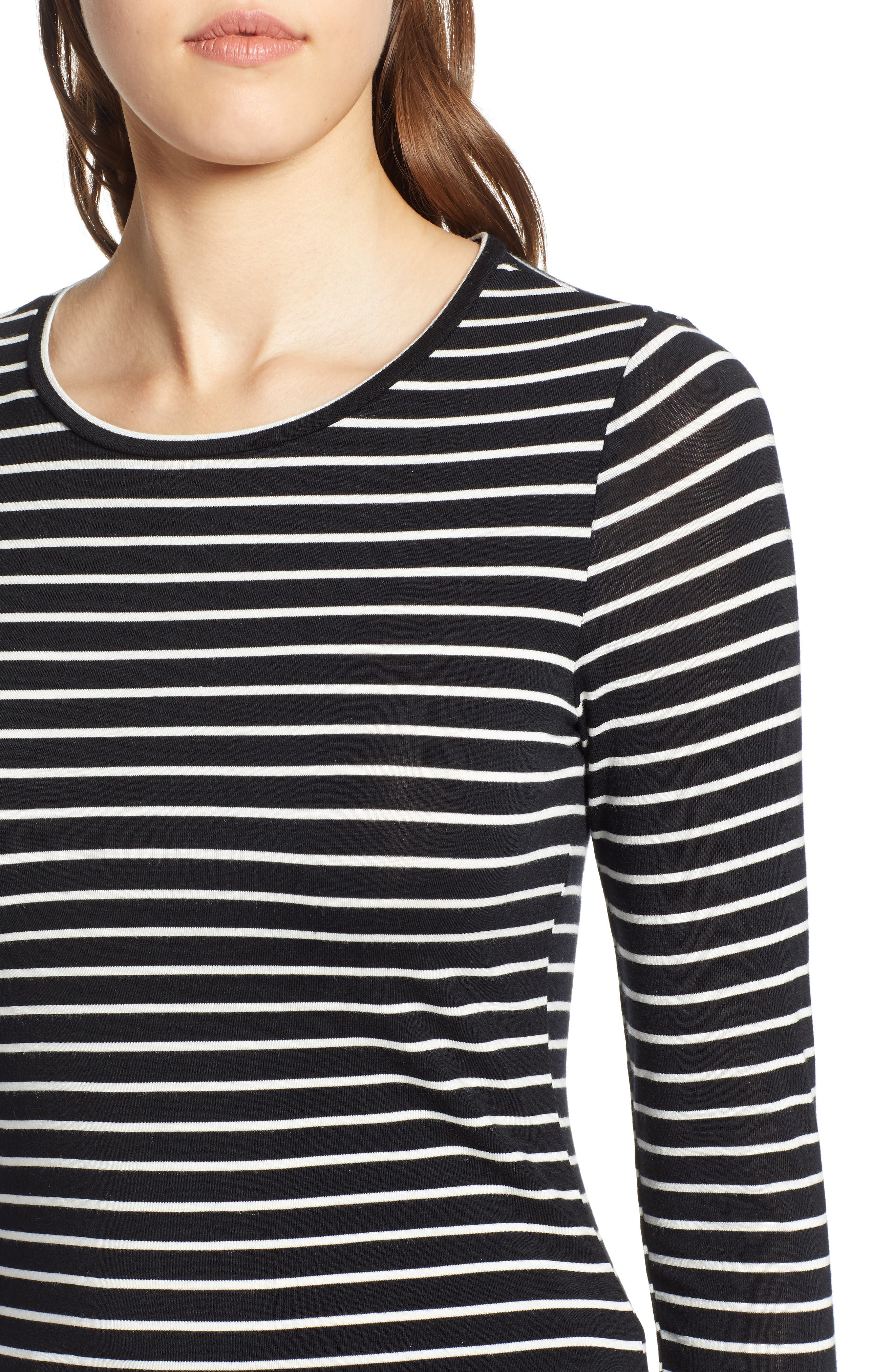 HALOGEN<SUP>®</SUP>, Long Sleeve Modal Blend Tee, Alternate thumbnail 5, color, BLACK- IVORY ASHLEY STRIPE