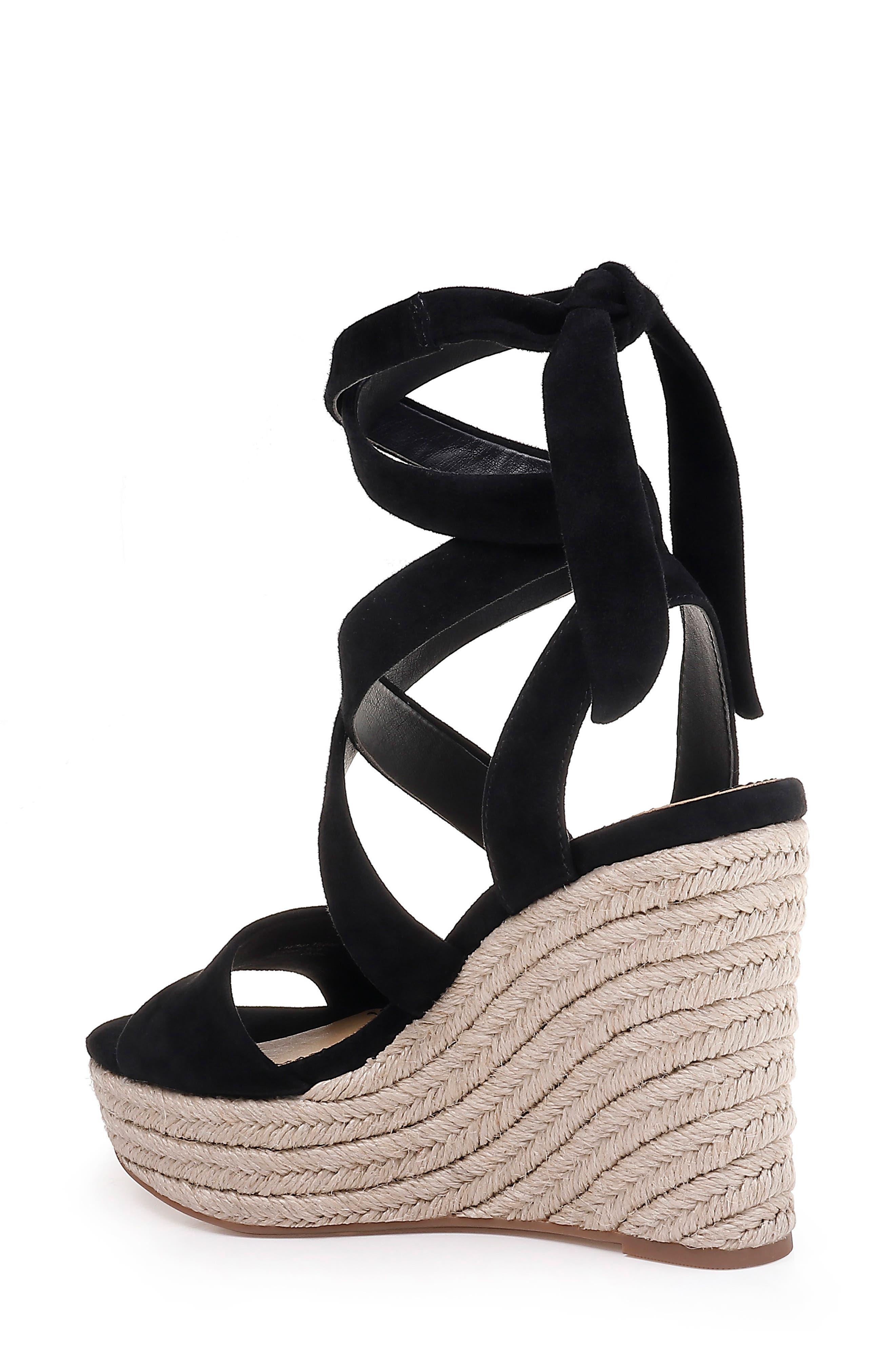 SPLENDID, Tessie Ankle Wrap Wedge Sandal, Alternate thumbnail 2, color, BLACK SUEDE