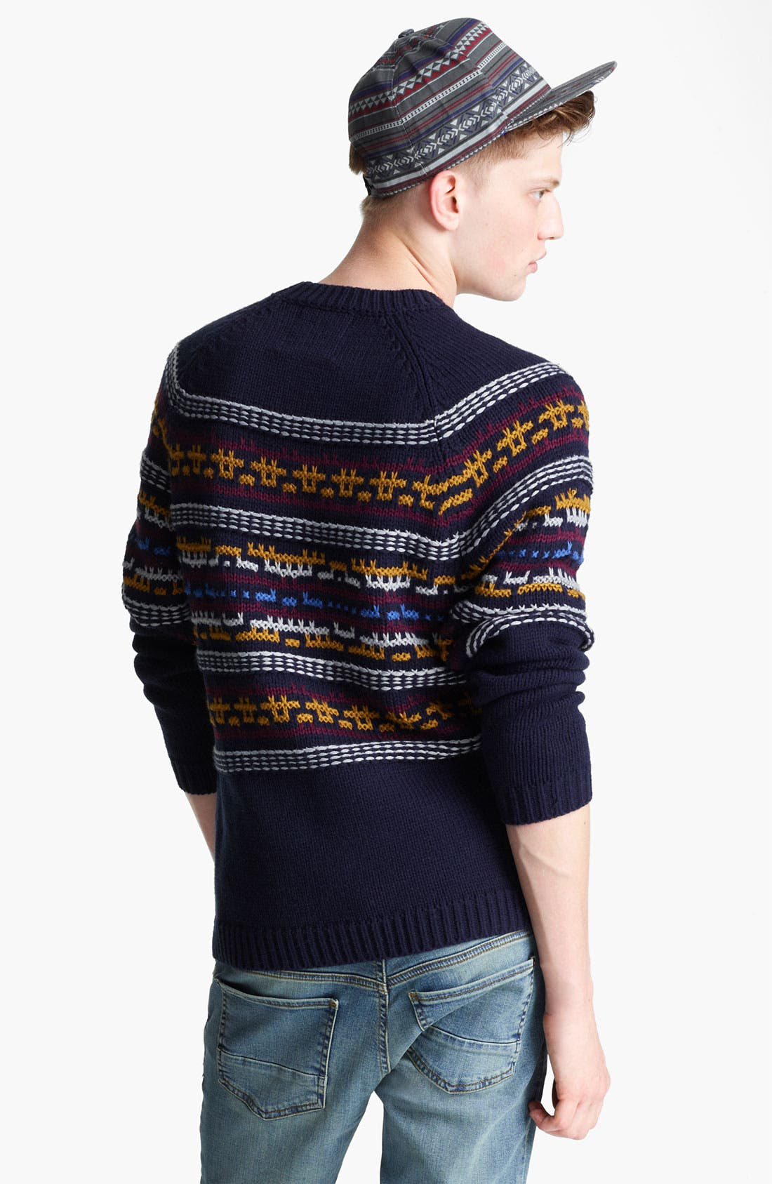 TOPMAN, 'Computer Pattern' Crewneck Sweater, Alternate thumbnail 3, color, 410