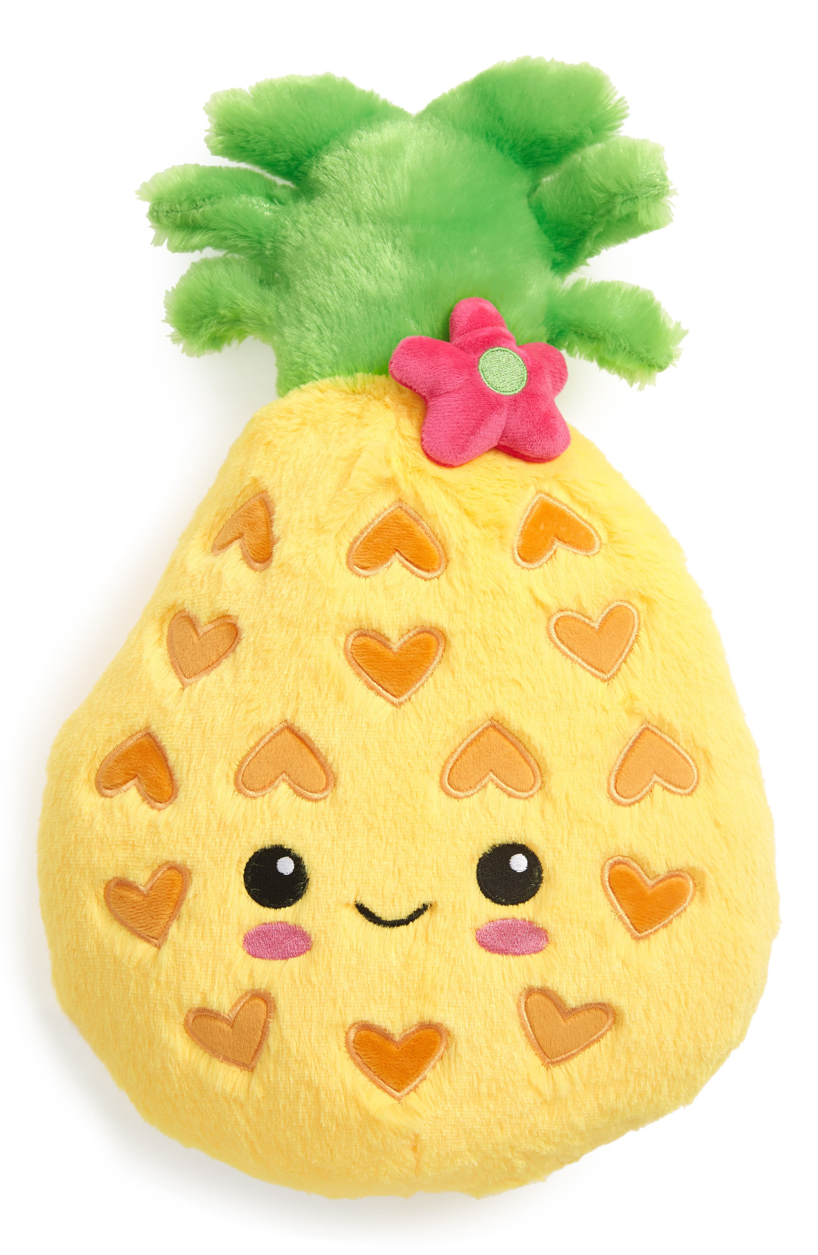 ISCREAM Pineapple Scented Furry Pillow, Main, color, YELLOW
