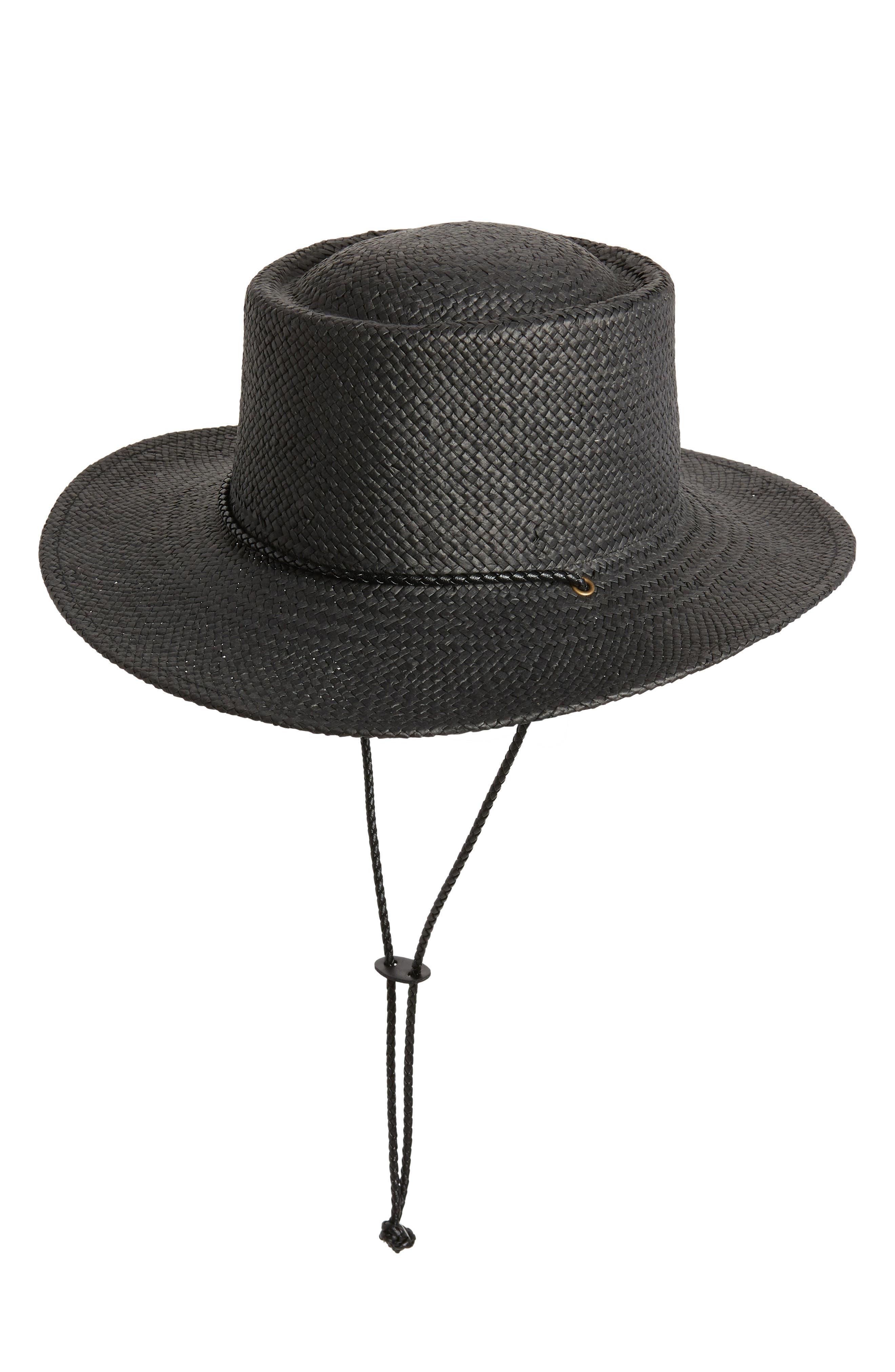 TREASURE & BOND, Woven Boater Hat, Main thumbnail 1, color, BLACK