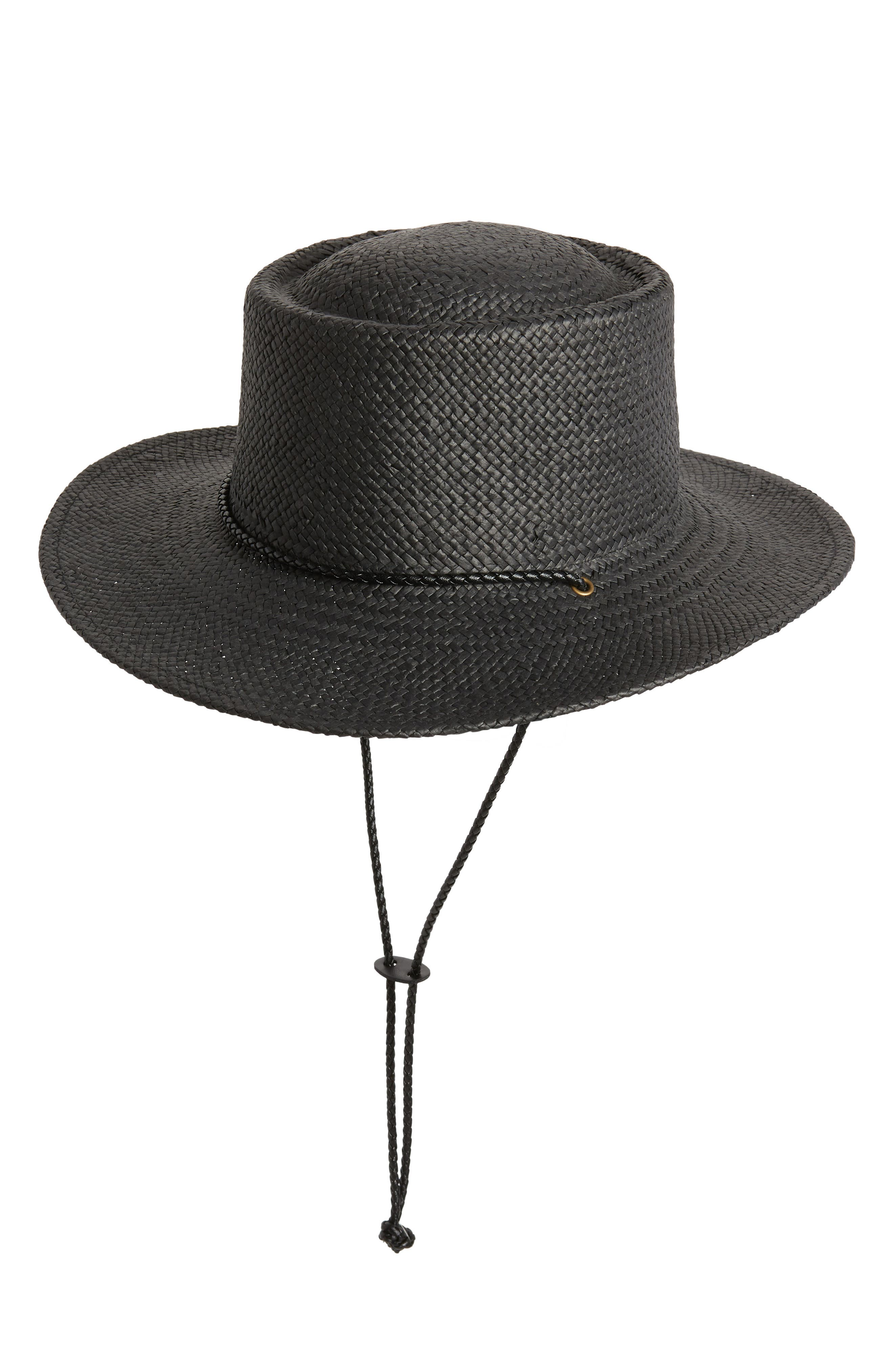 TREASURE & BOND Woven Boater Hat, Main, color, BLACK