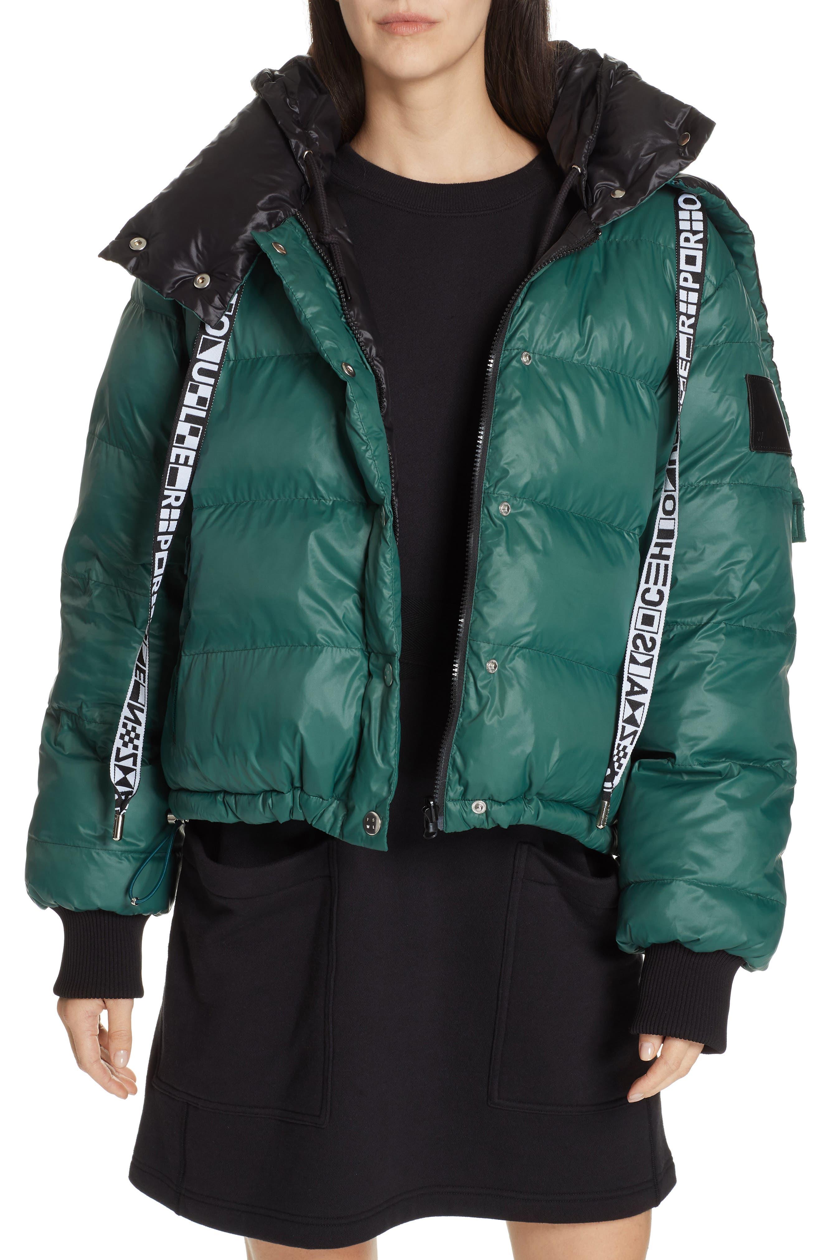 PROENZA SCHOULER, PSWL Reversible Puffer Coat, Main thumbnail 1, color, GREEN/ BLACK