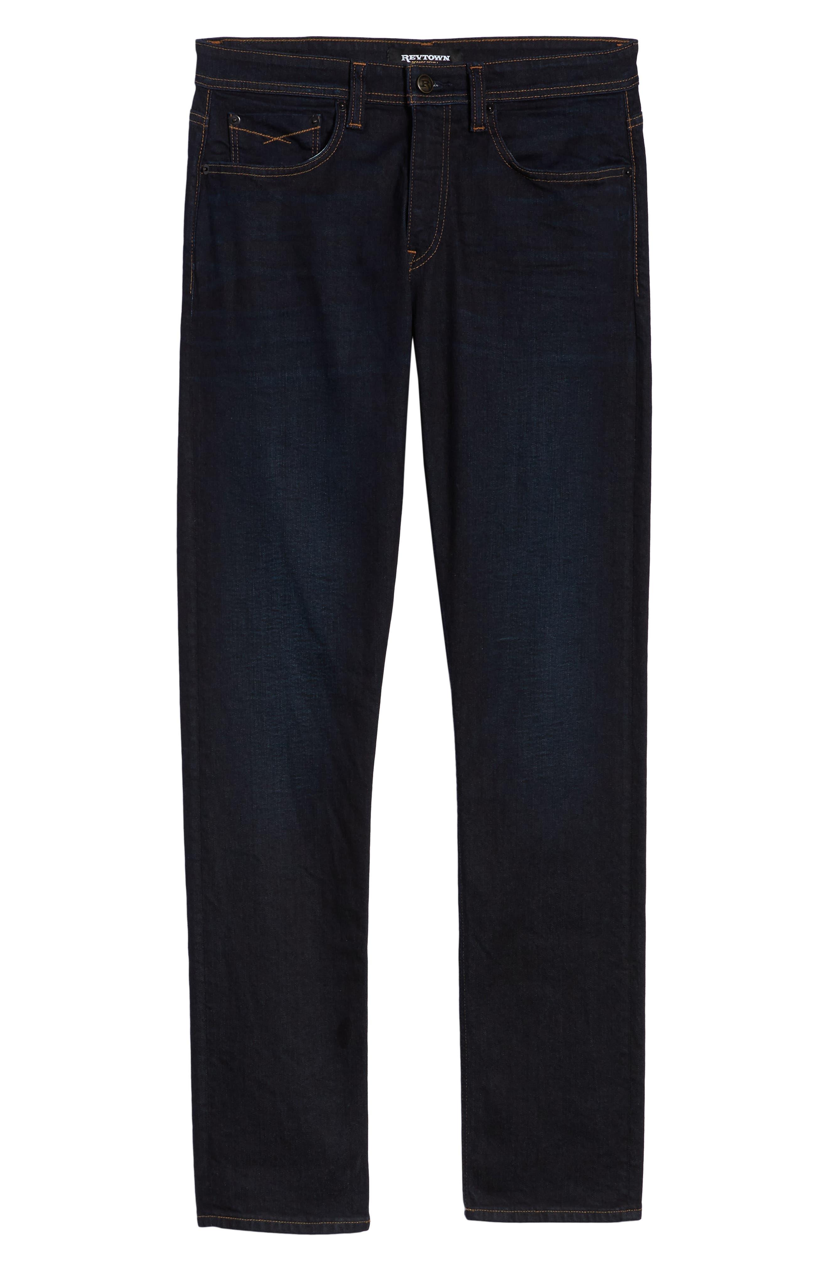 REVTOWN, Sharp Slim Fit Jeans, Alternate thumbnail 6, color, DARK INDIGO