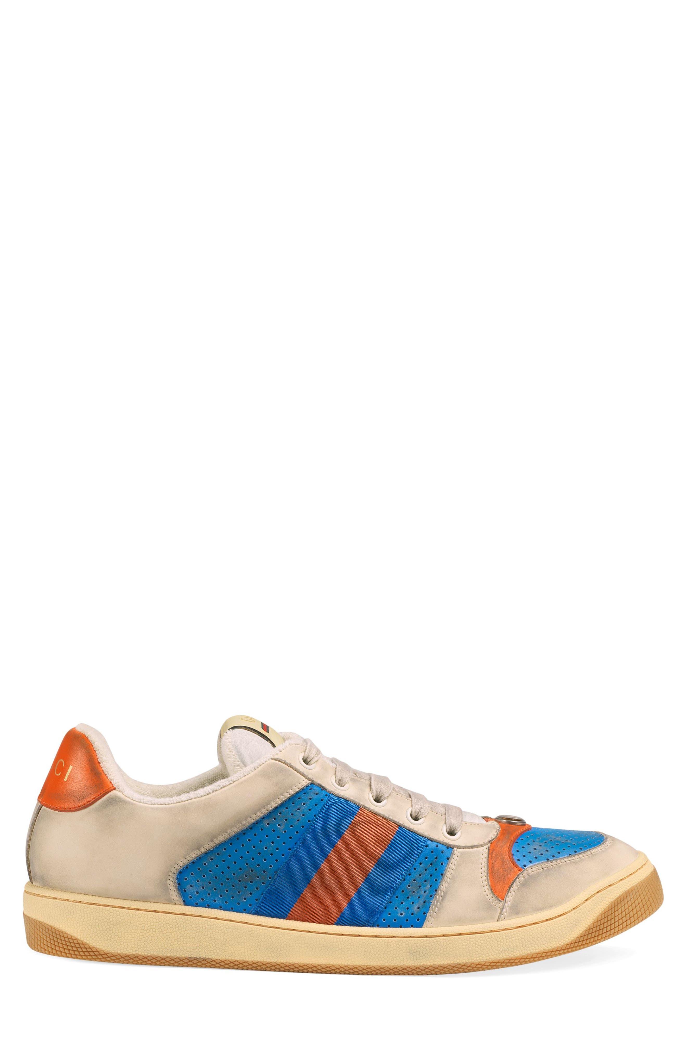 GUCCI, Screener Low Top Sneaker, Alternate thumbnail 2, color, BLUE/ CAMEL