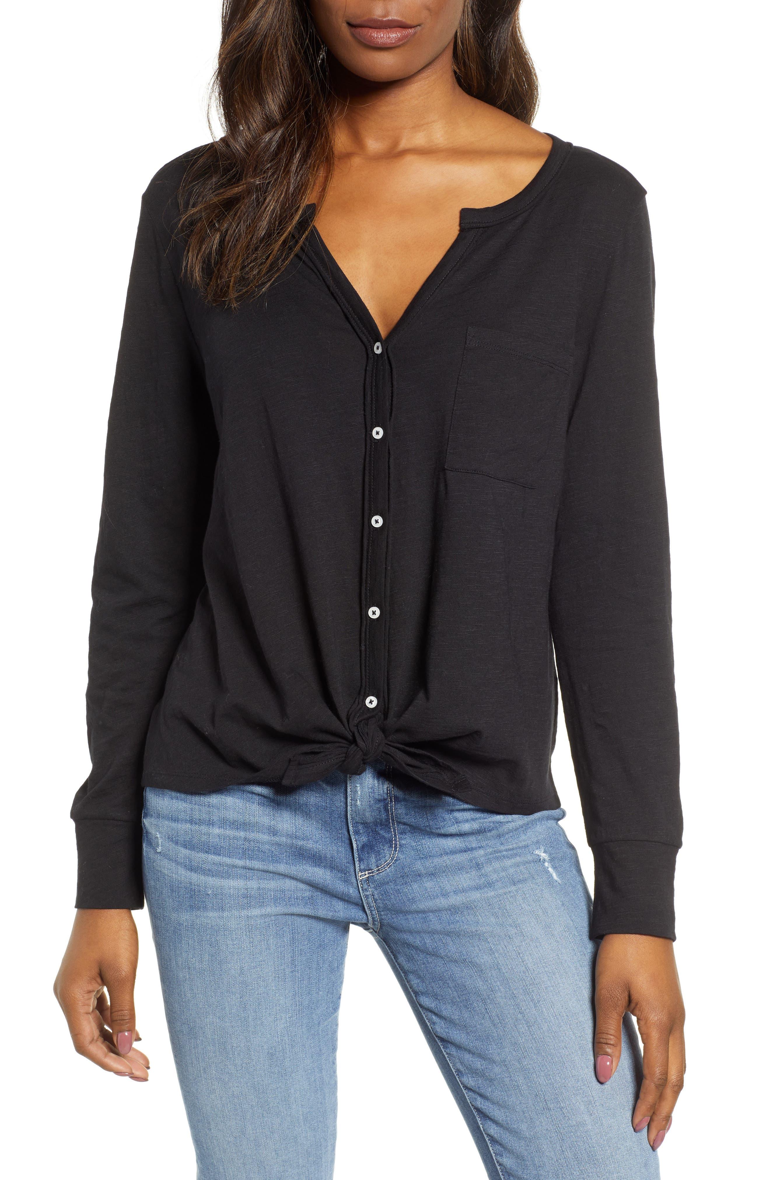 CASLON<SUP>®</SUP> Tie Front Top, Main, color, BLACK