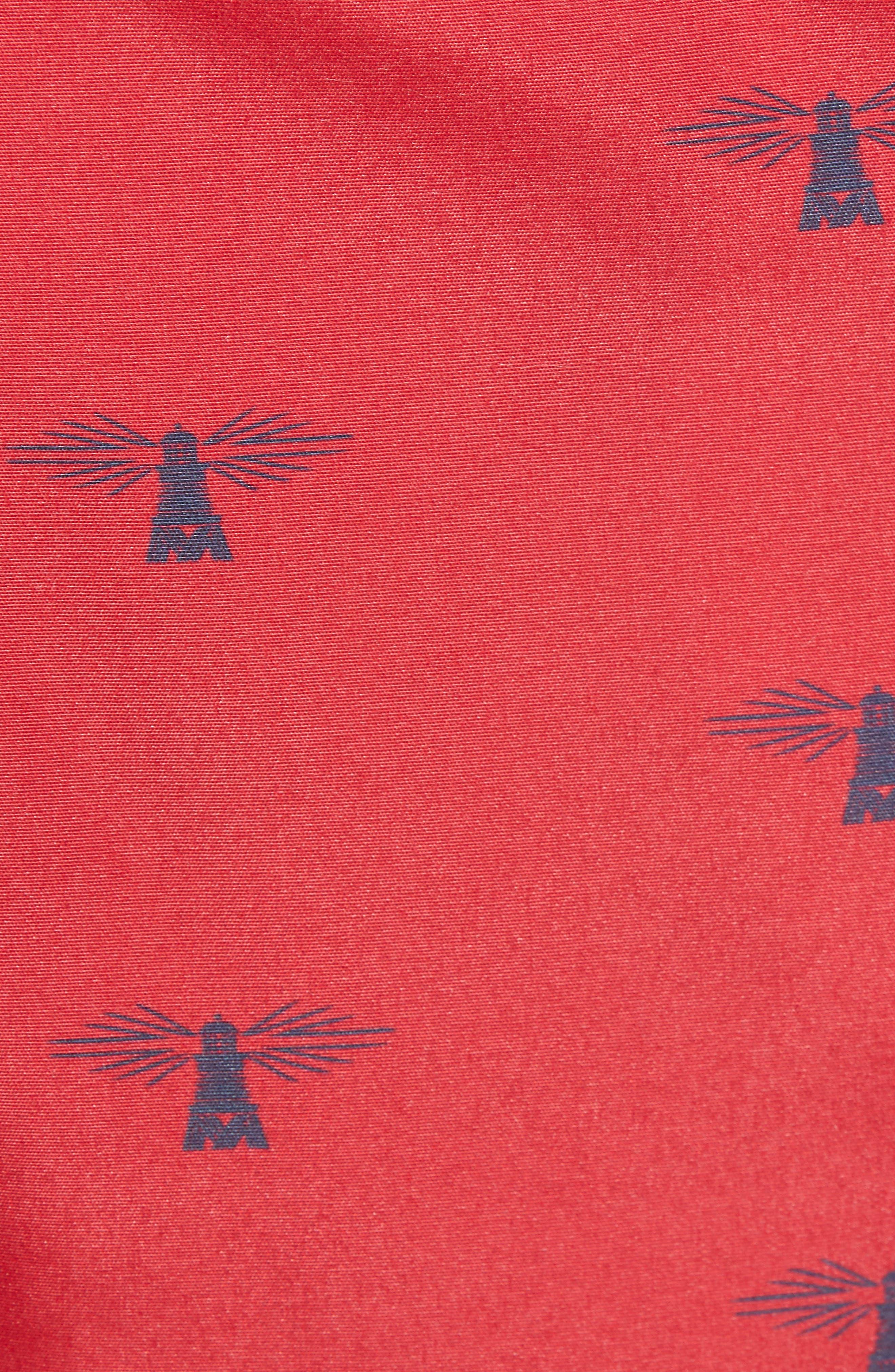 BARBOUR, Coastal Print Swim Trunks, Alternate thumbnail 5, color, RICH RED