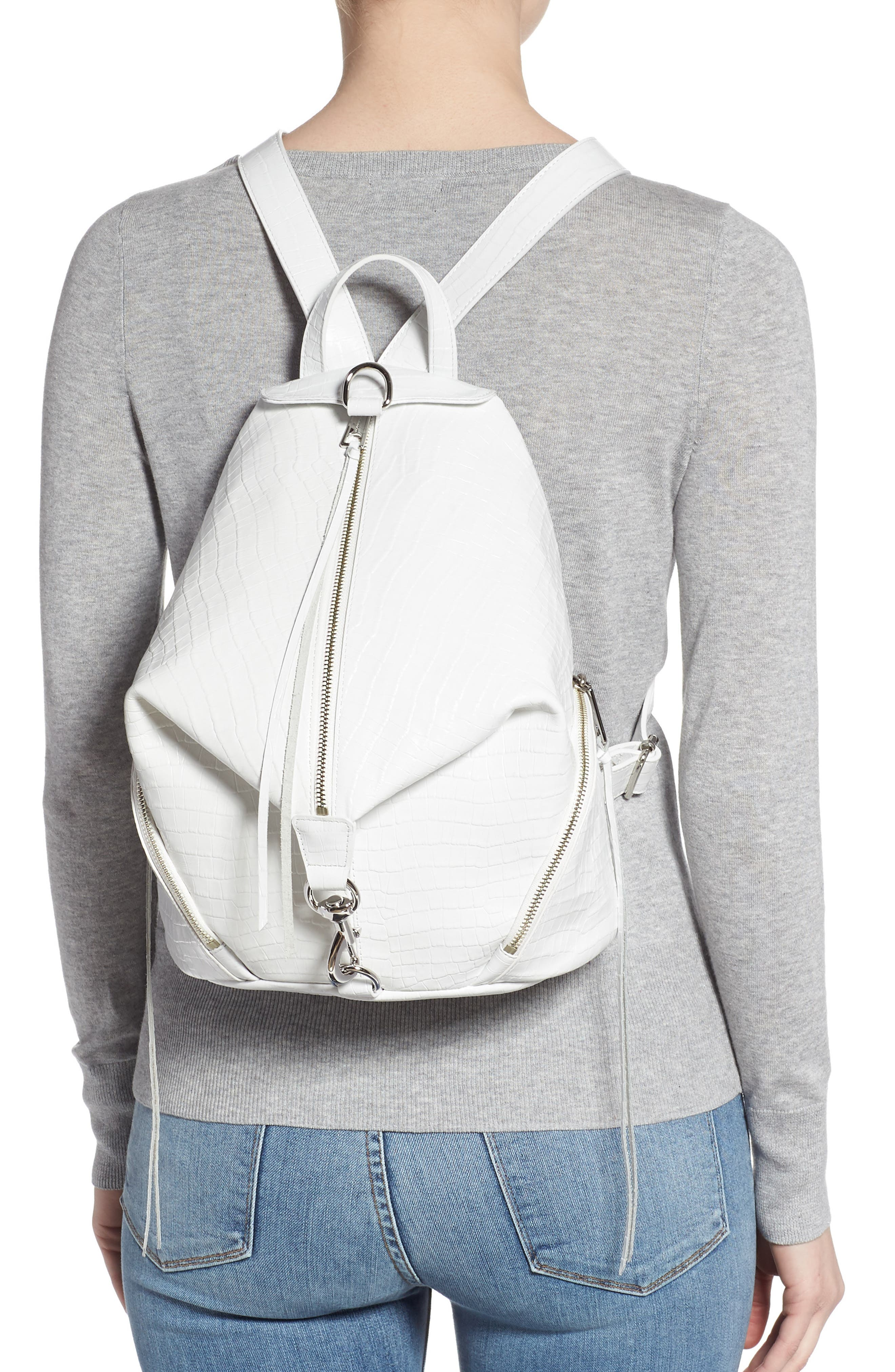 REBECCA MINKOFF, Julian Croc Embossed Leather Backpack, Alternate thumbnail 2, color, OPTIC WHITE