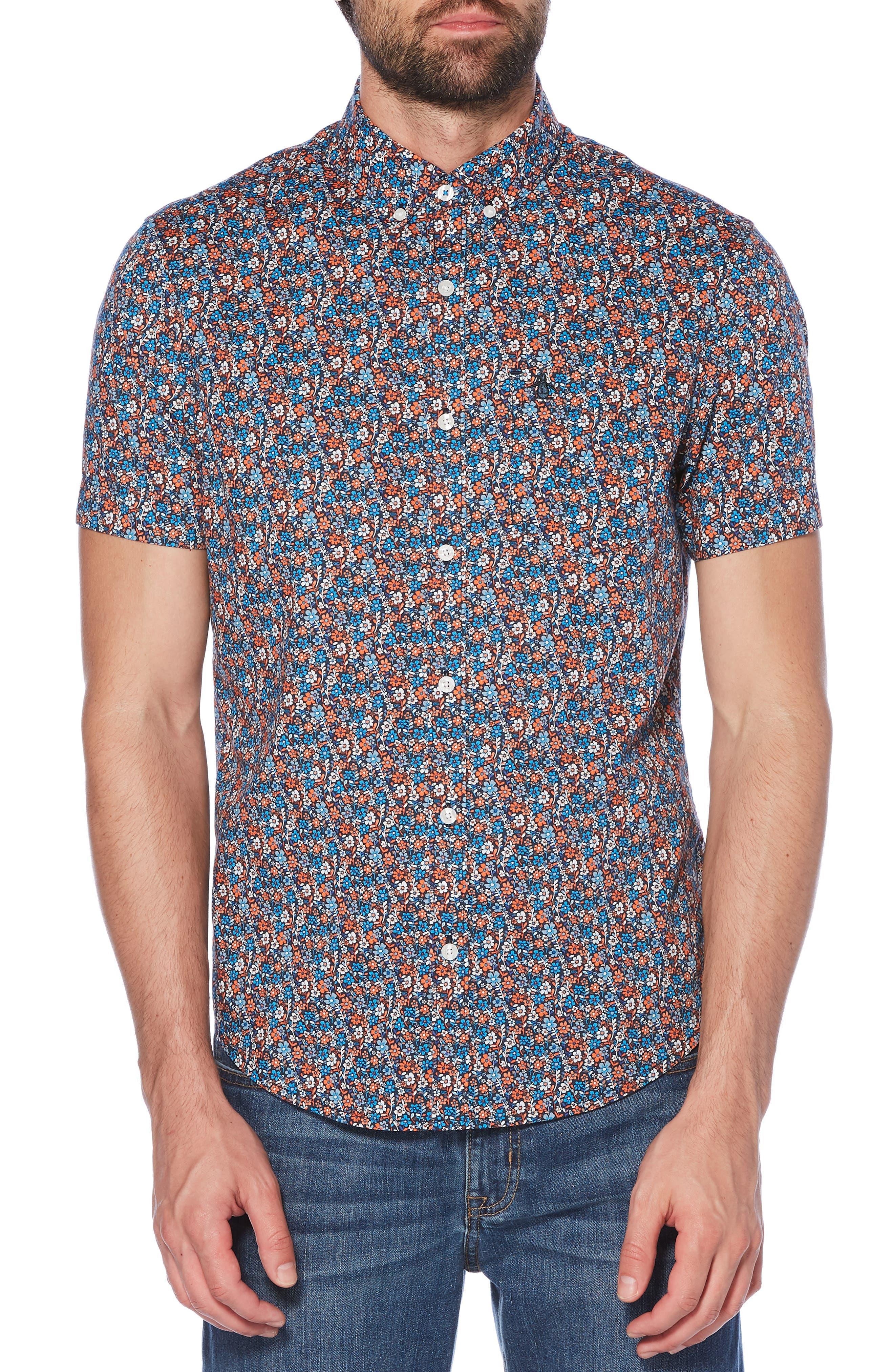 ORIGINAL PENGUIN, Ditsy Floral Print Woven Shirt, Main thumbnail 1, color, 413