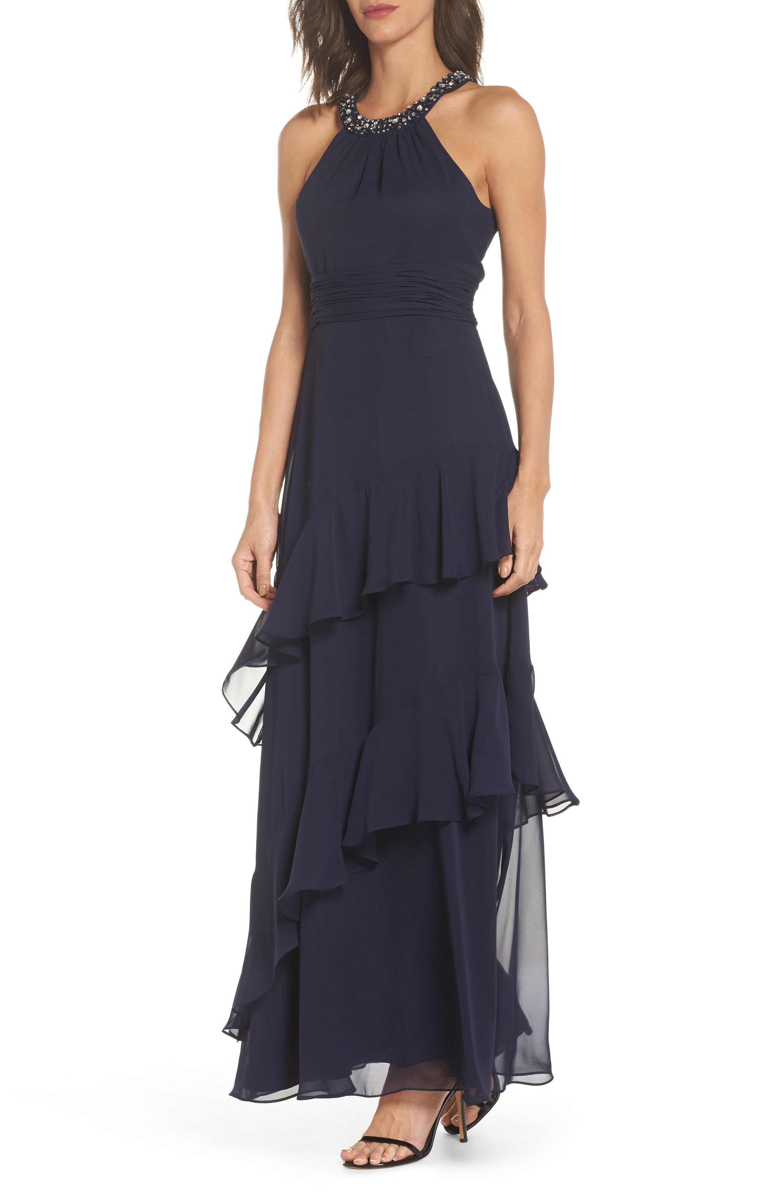 ELIZA J Beaded Halter Tiered Chiffon Gown, Main, color, NAVY