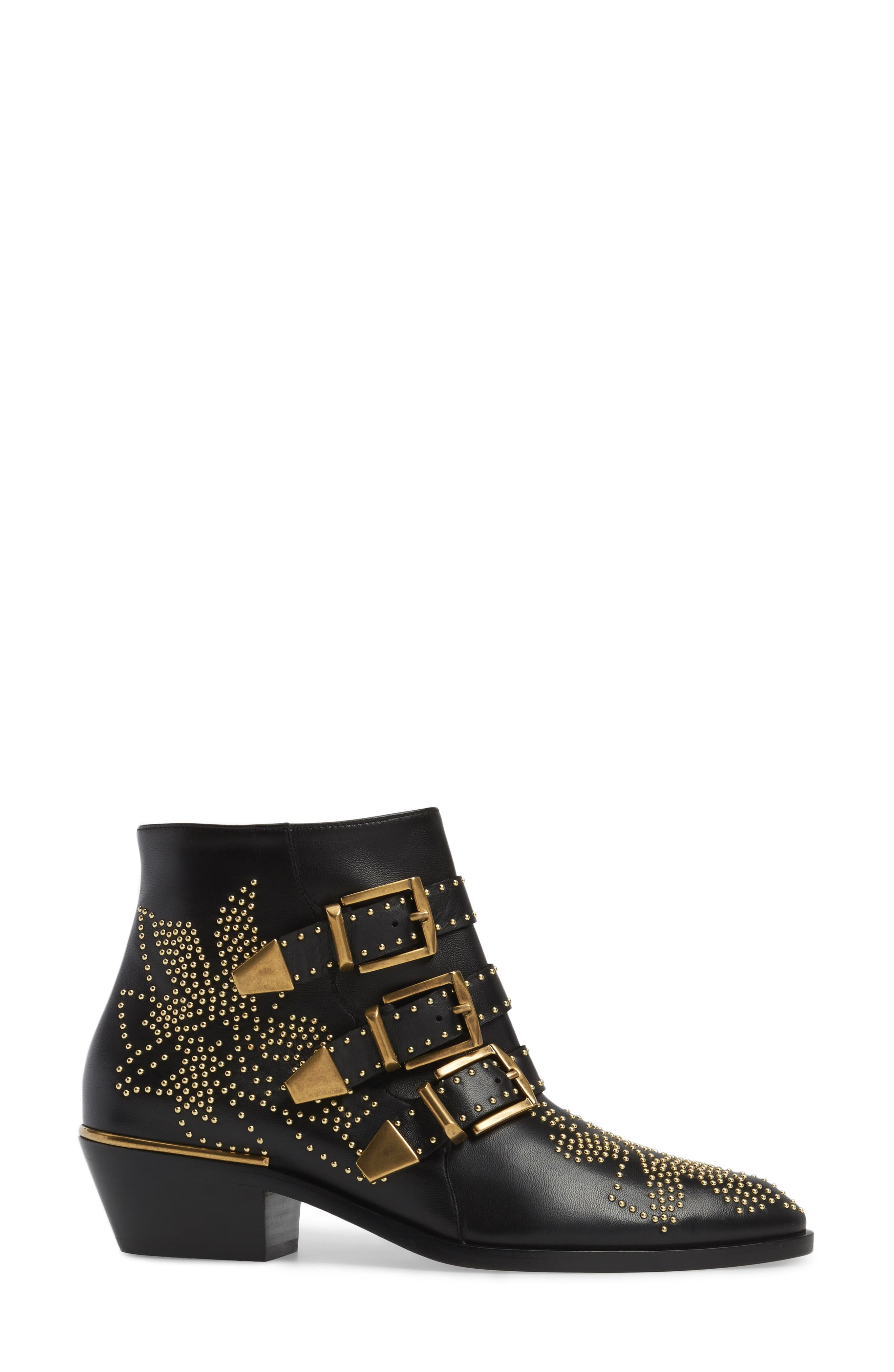 CHLOÉ, Susanna Stud Buckle Bootie, Alternate thumbnail 3, color, BLACK GOLD LEATHER