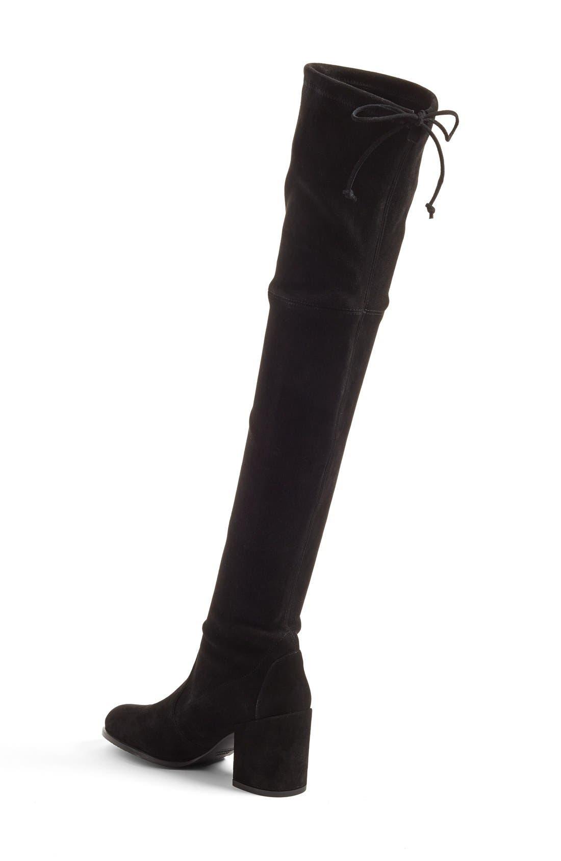STUART WEITZMAN, Tieland Over the Knee Boot, Alternate thumbnail 3, color, BLACK SUEDE