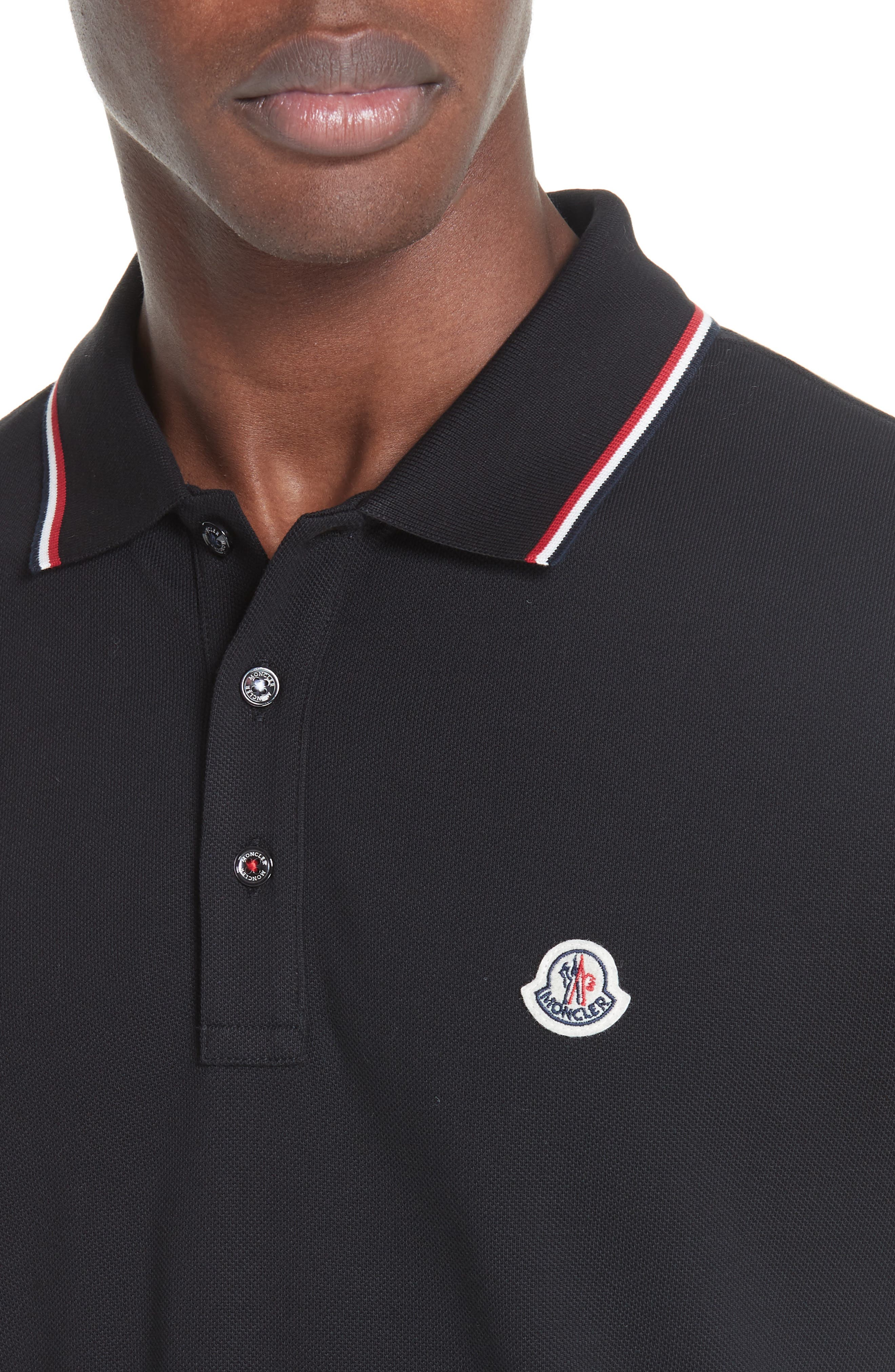 MONCLER, Maglia Long Sleeve Piqué Polo, Alternate thumbnail 4, color, BLACK