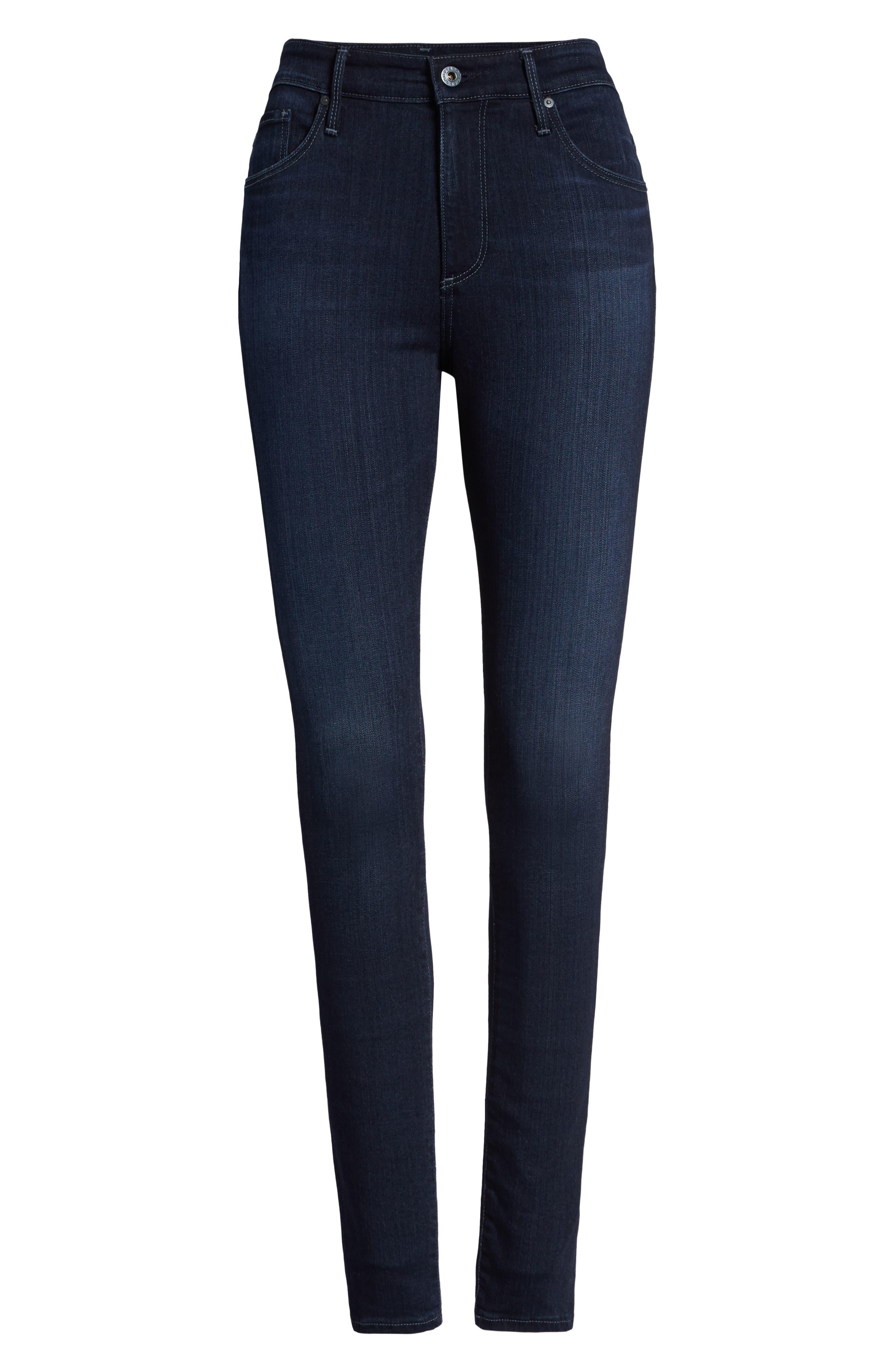 AG, Farrah High Waist Skinny Jeans, Alternate thumbnail 7, color, BLUE BASIN