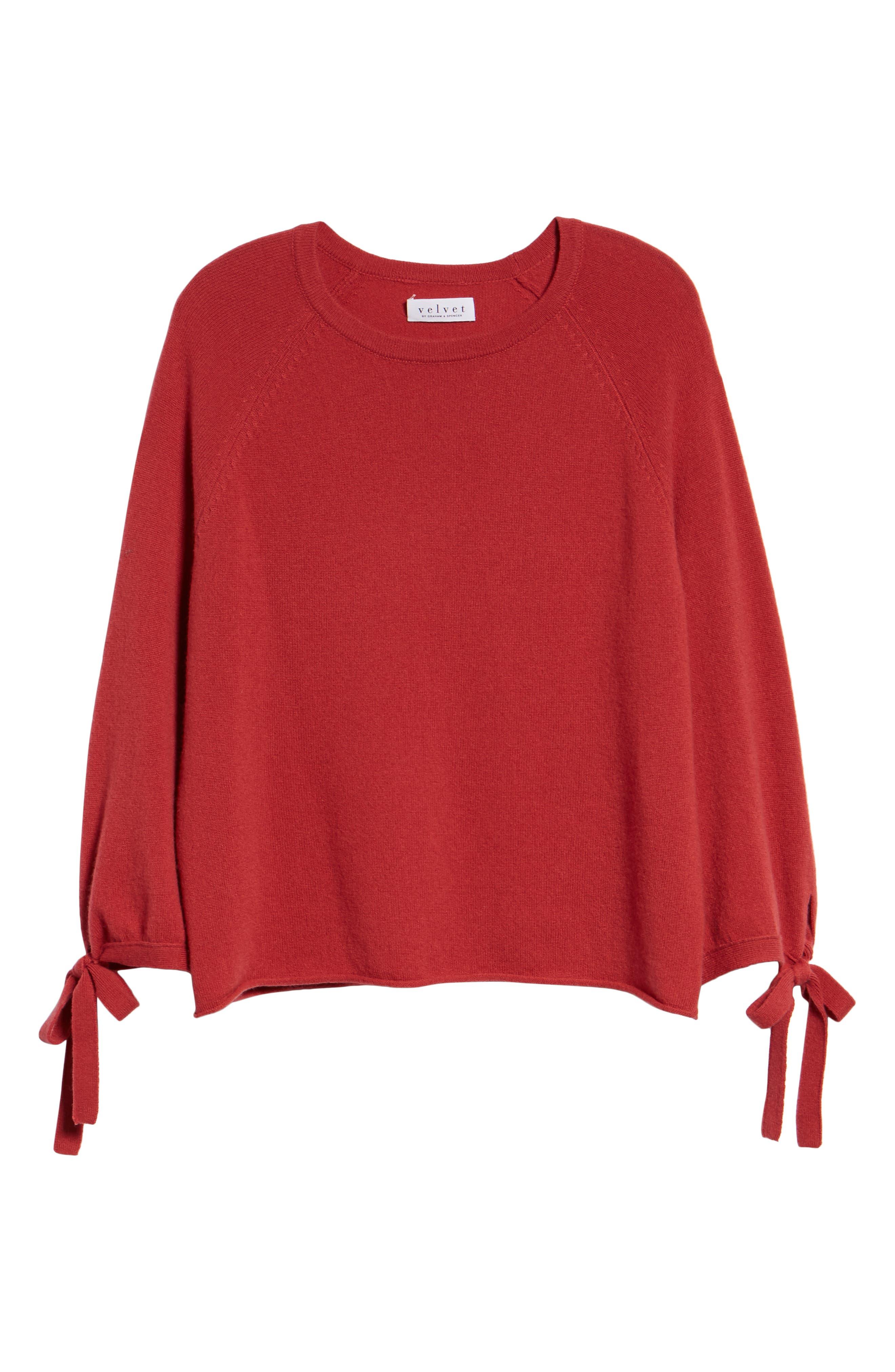VELVET BY GRAHAM & SPENCER, Cashmere Tie Sleeve Sweater, Alternate thumbnail 6, color, SNAPPER