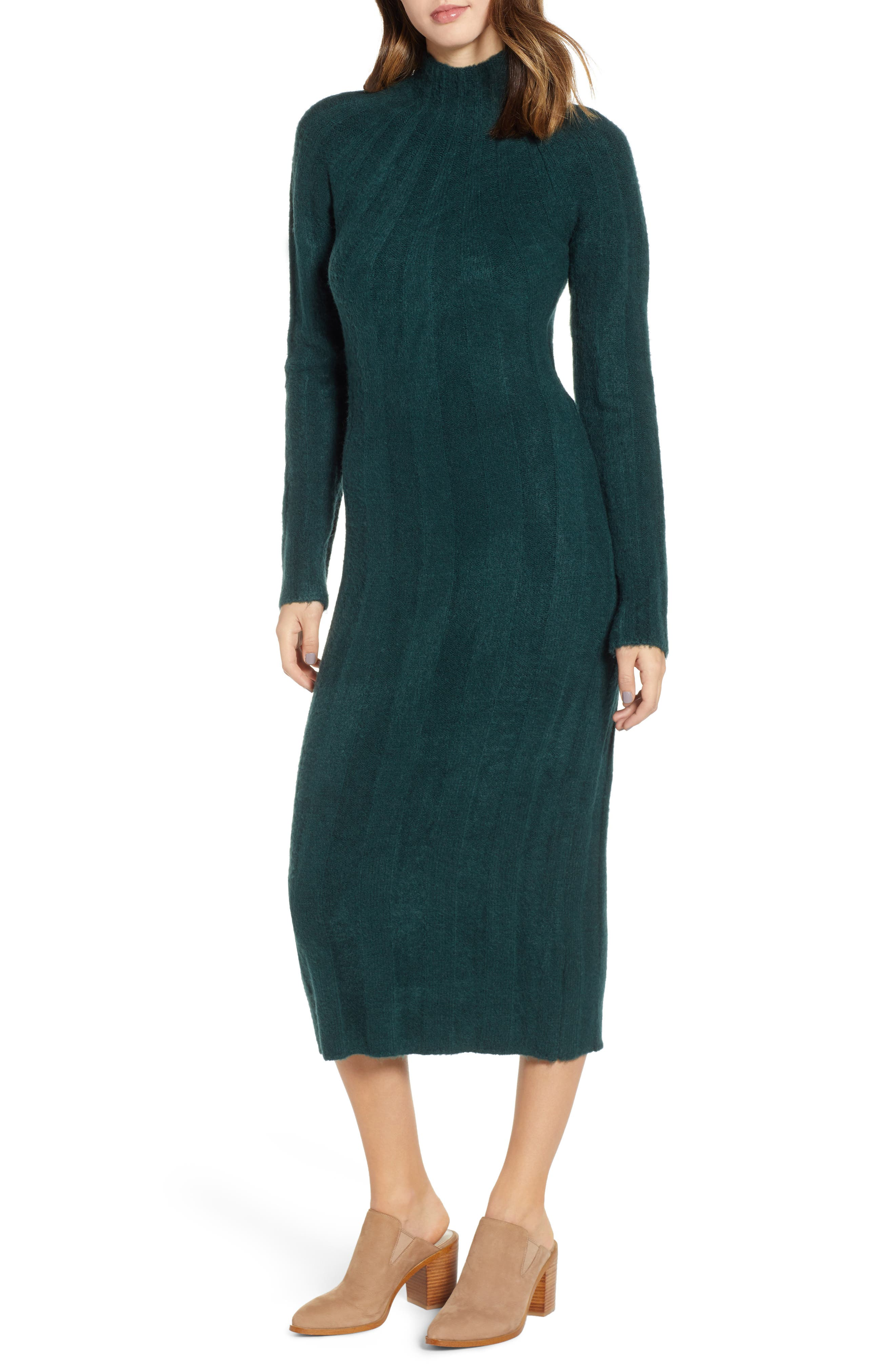 4SI3NNA Wide Rib Sweater Dress, Main, color, 300