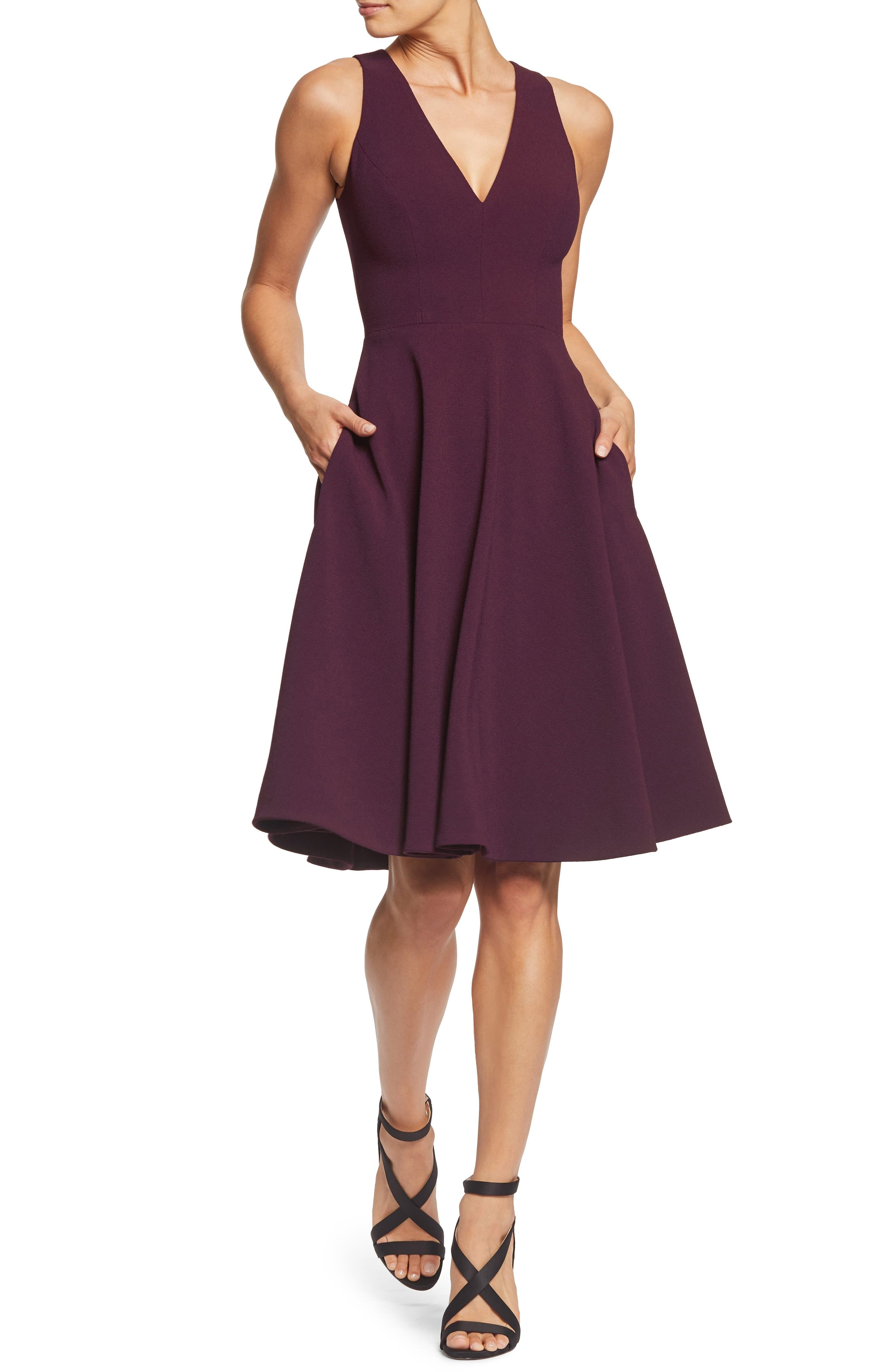 DRESS THE POPULATION, Catalina Tea Length Fit & Flare Dress, Main thumbnail 1, color, PLUM