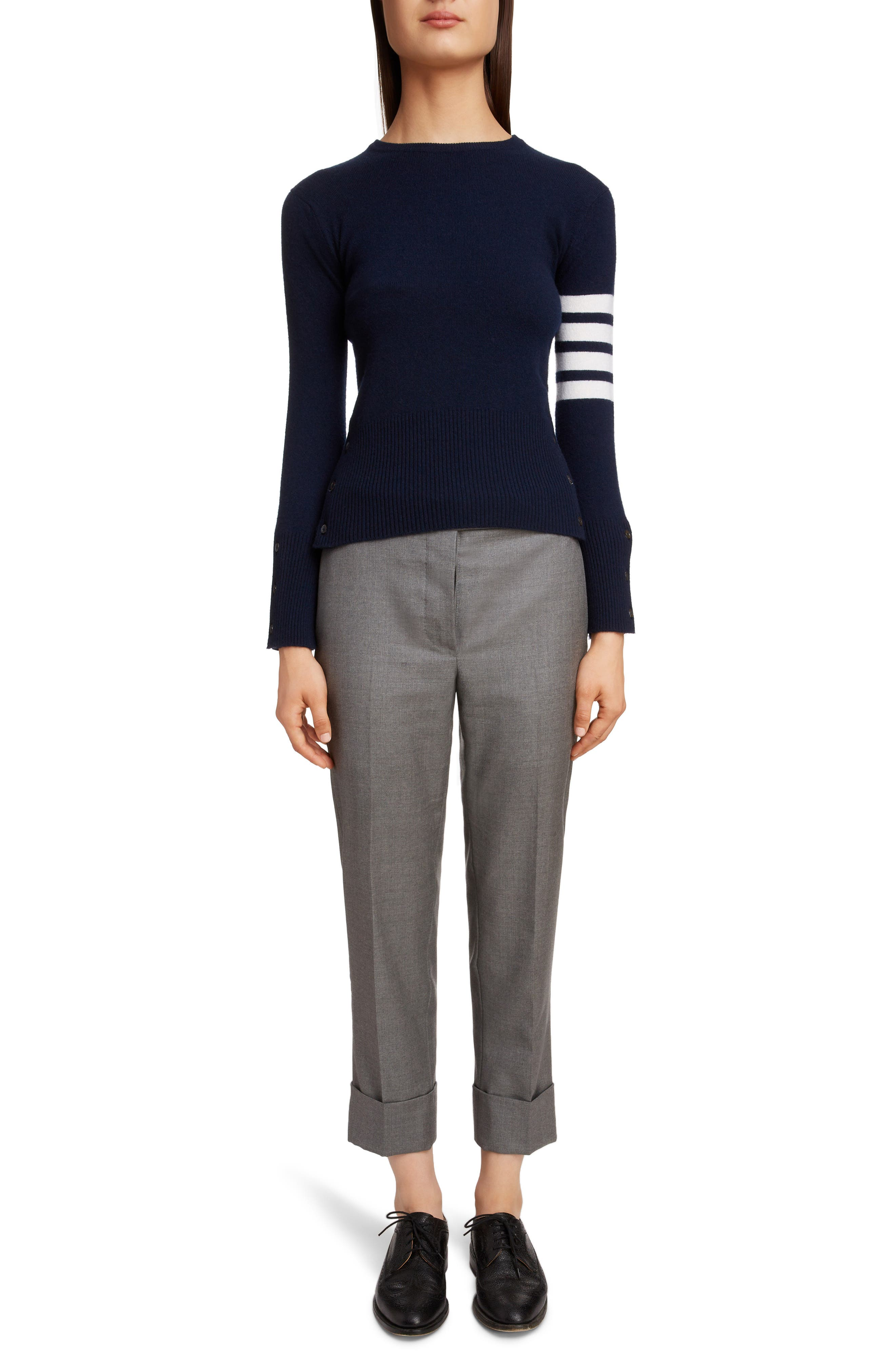 THOM BROWNE, Classic Crewneck Cashmere Sweater, Alternate thumbnail 6, color, NAVY