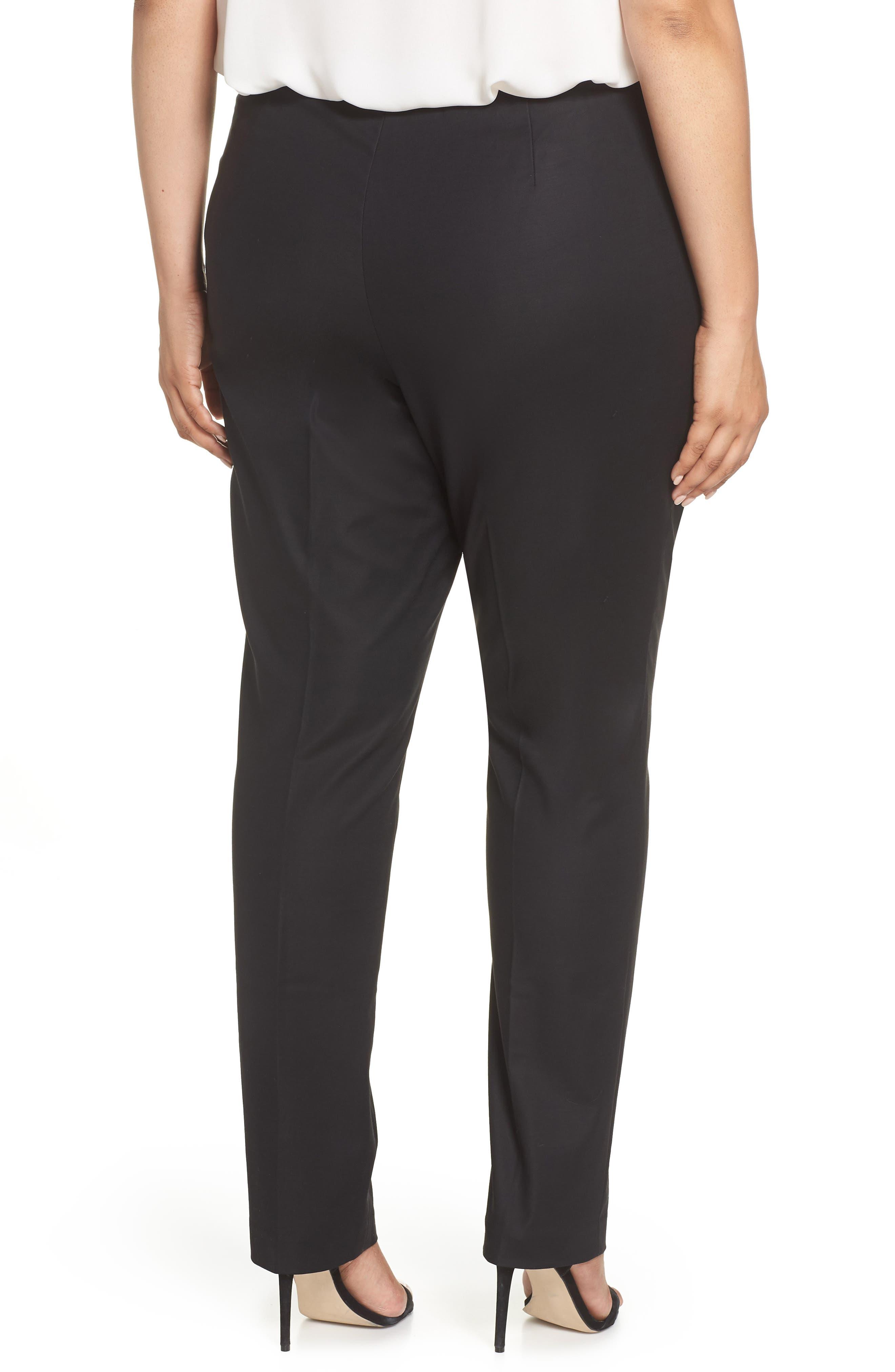 NIC+ZOE, 'Perfect' Side Zip Pants, Alternate thumbnail 2, color, BLACK ONYX