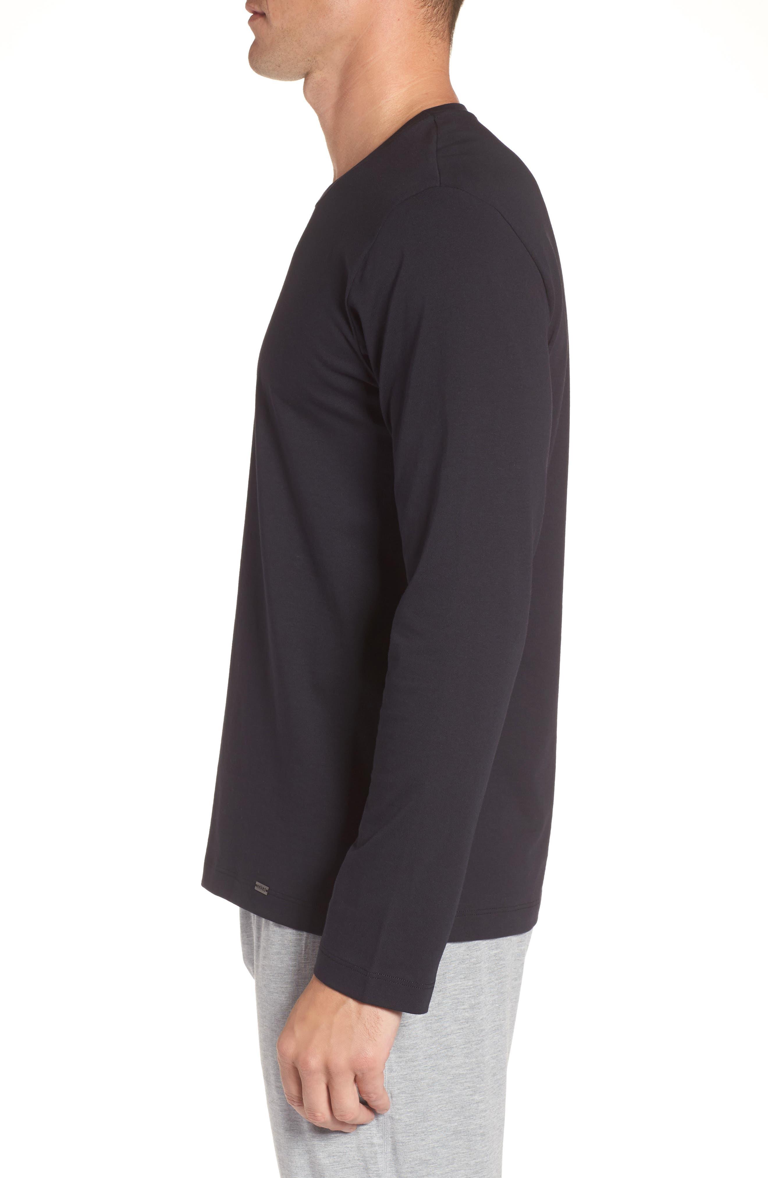 HANRO, Living Long Sleeve T-Shirt, Alternate thumbnail 3, color, BLACK