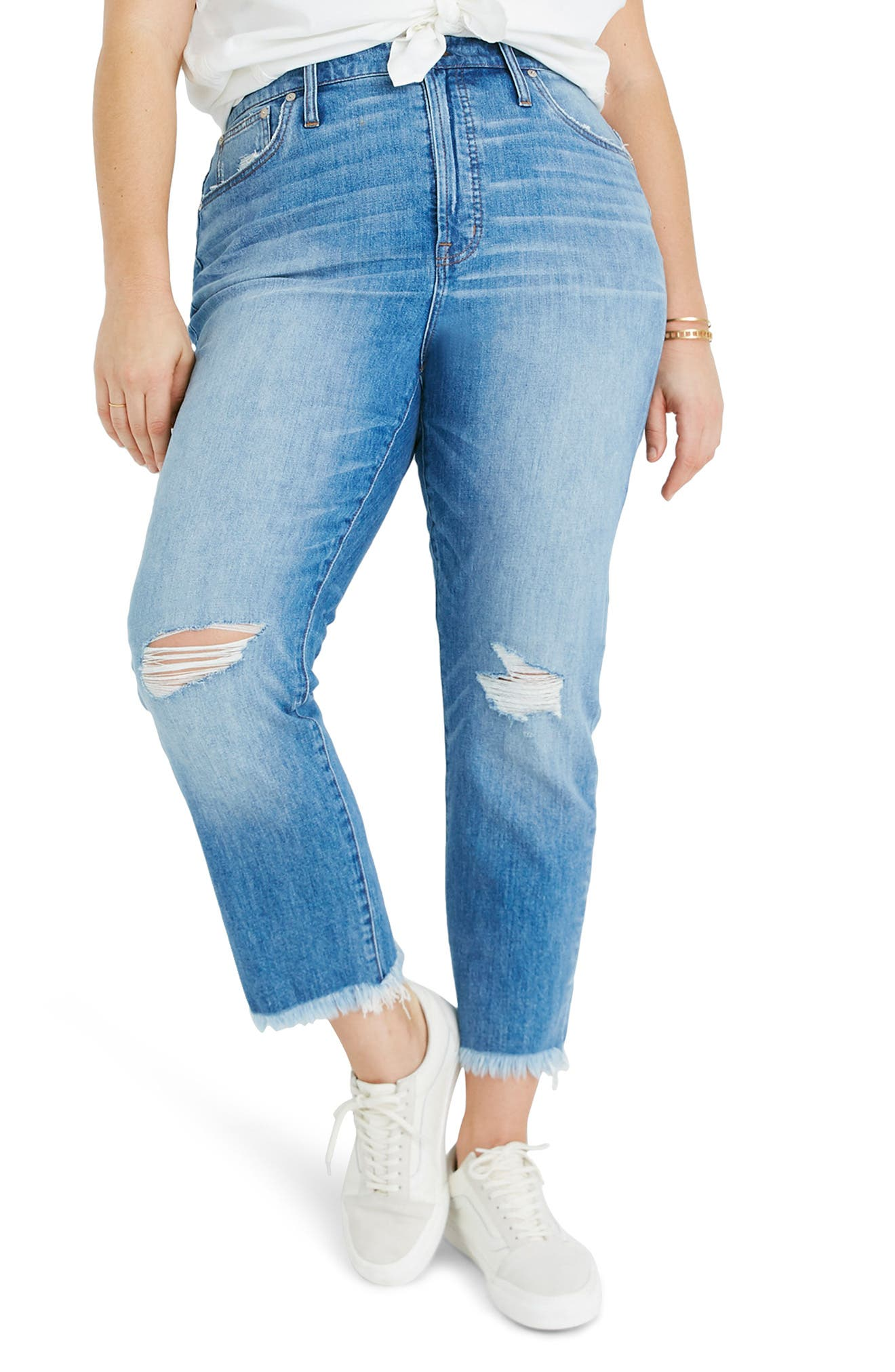 MADEWELL, The Perfect Vintage Crop High Waist Jeans, Alternate thumbnail 2, color, PARNELL WASH