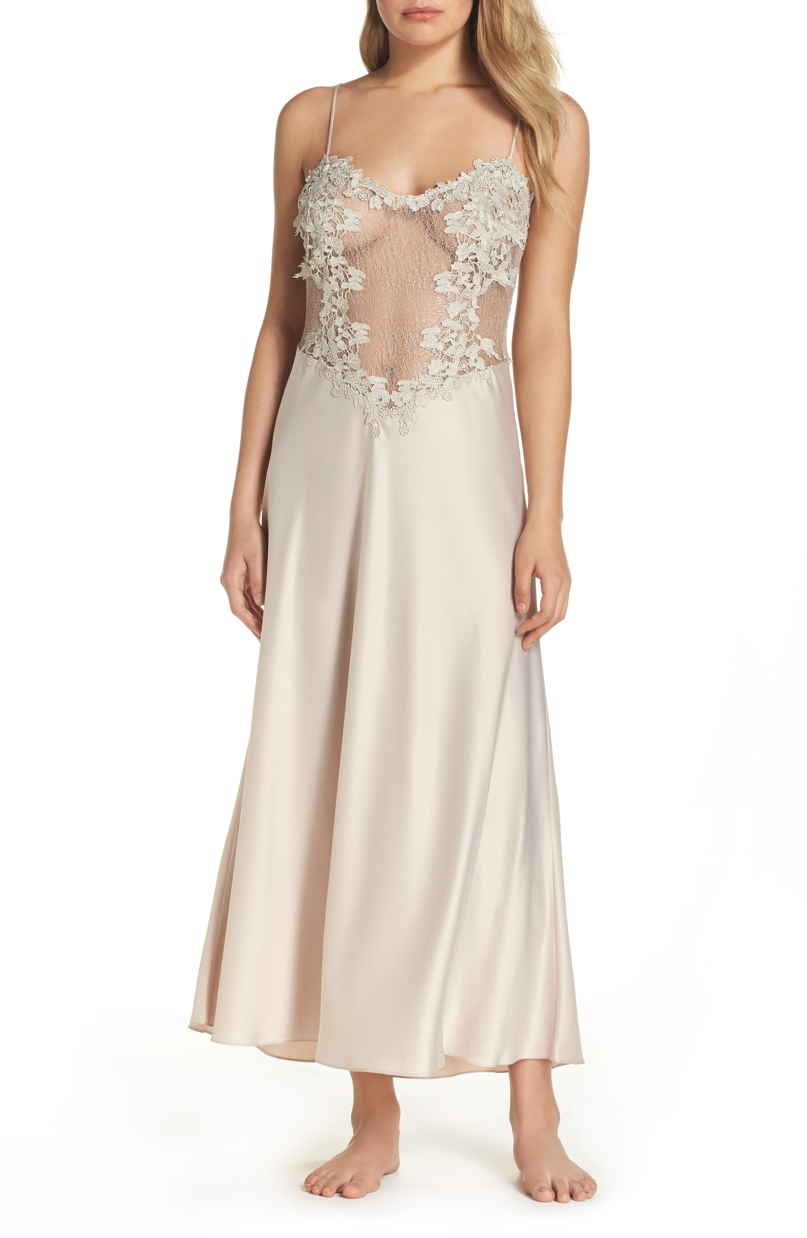 FLORA NIKROOZ, Showstopper Nightgown, Alternate thumbnail 2, color, CHAMPAGNE