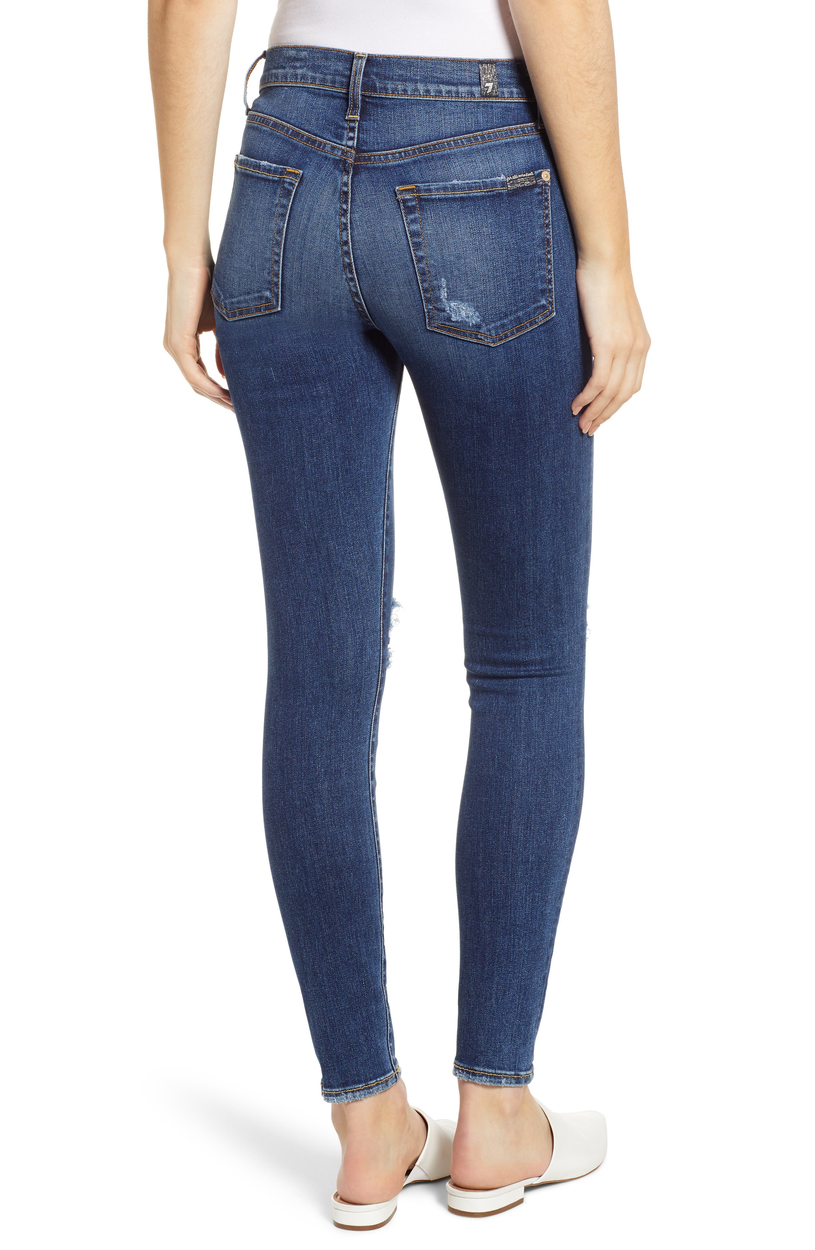 7 FOR ALL MANKIND<SUP>®</SUP>, Ankle Skinny Jeans, Alternate thumbnail 2, color, BLUE MONDAY