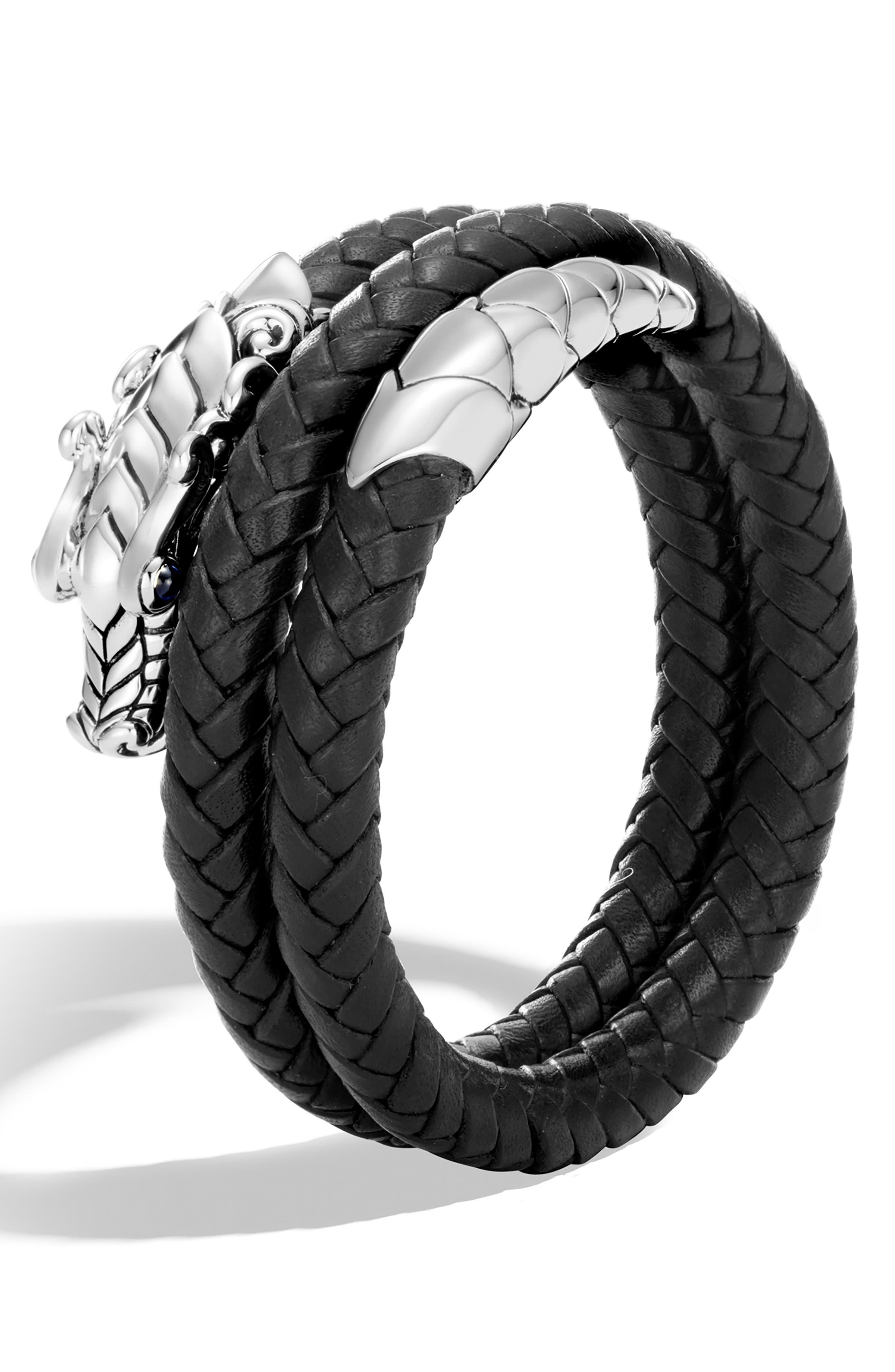 JOHN HARDY, Legends Naga Coiled Leather Bracelet, Alternate thumbnail 4, color, BLACK