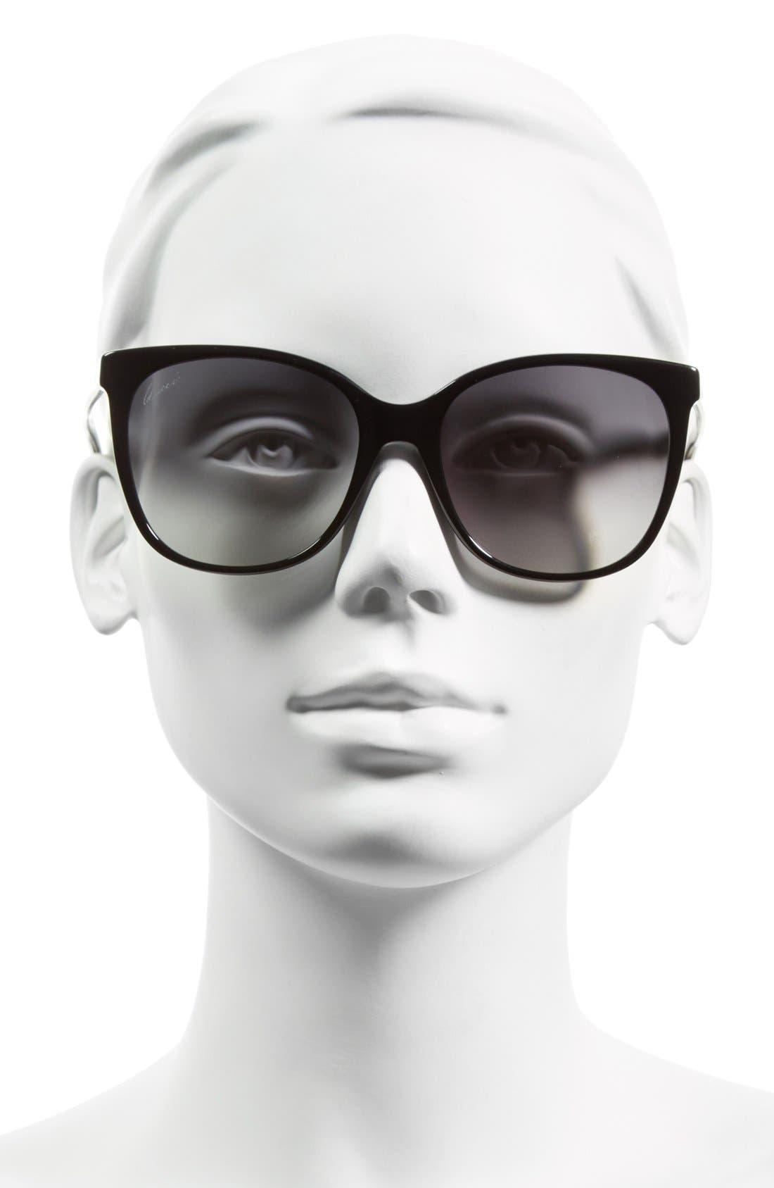 GUCCI, 56mm Cat Eye Sunglasses, Alternate thumbnail 2, color, 001