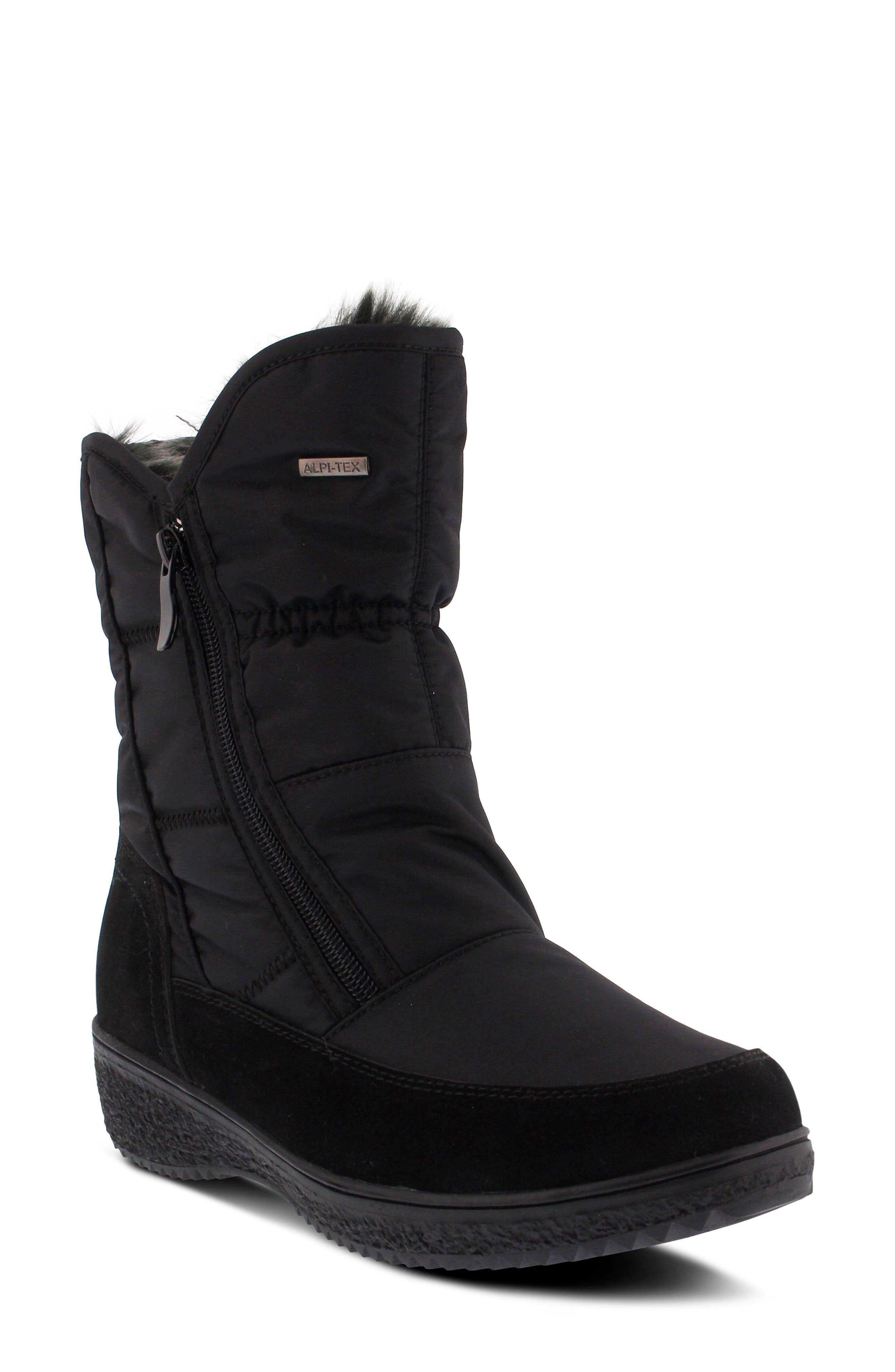 Spring Step Ernestina Waterproof Faux Fur Bootie - Black
