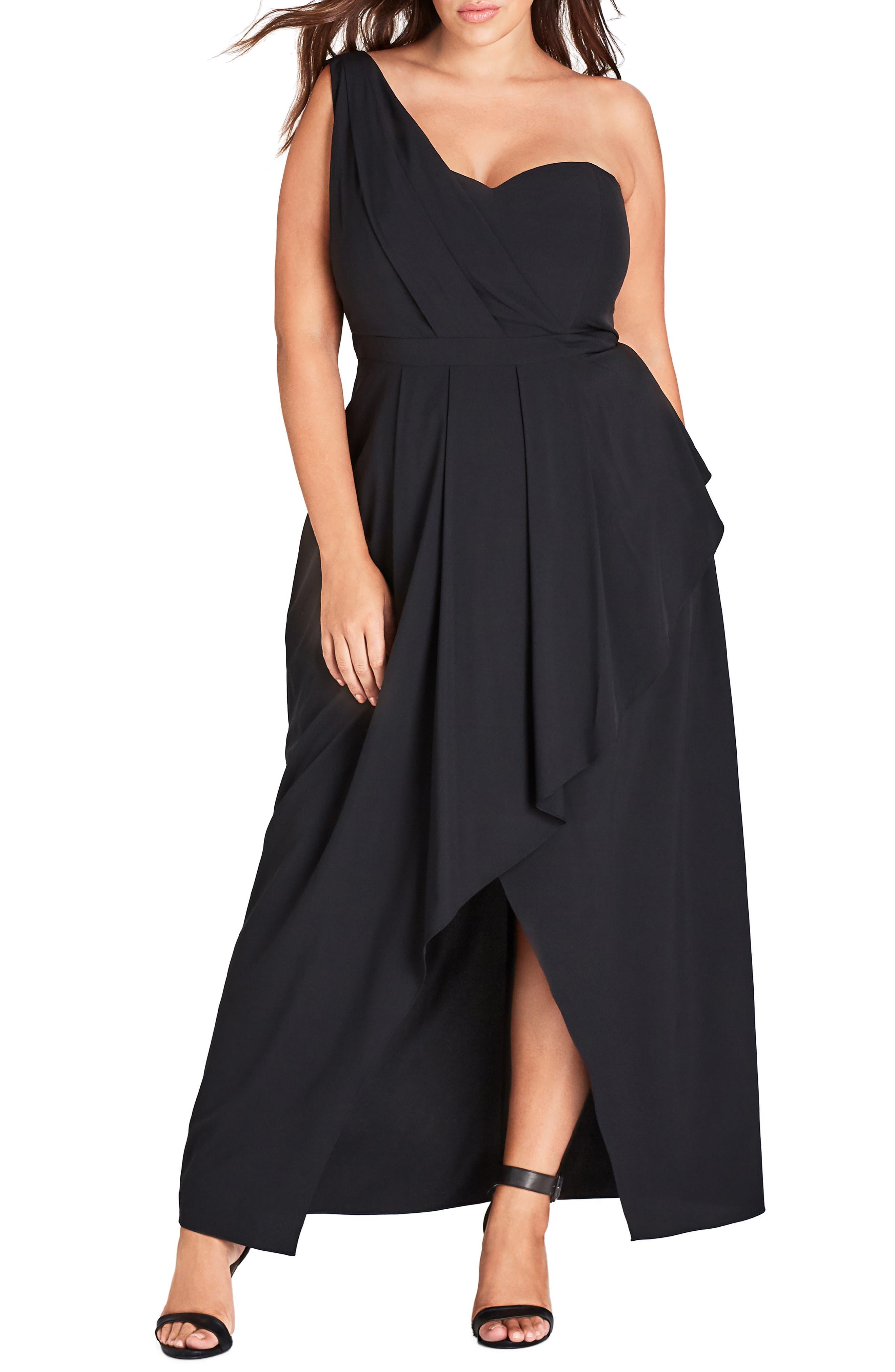 CITY CHIC, Allure One-Shoulder Maxi Dress, Main thumbnail 1, color, BLACK