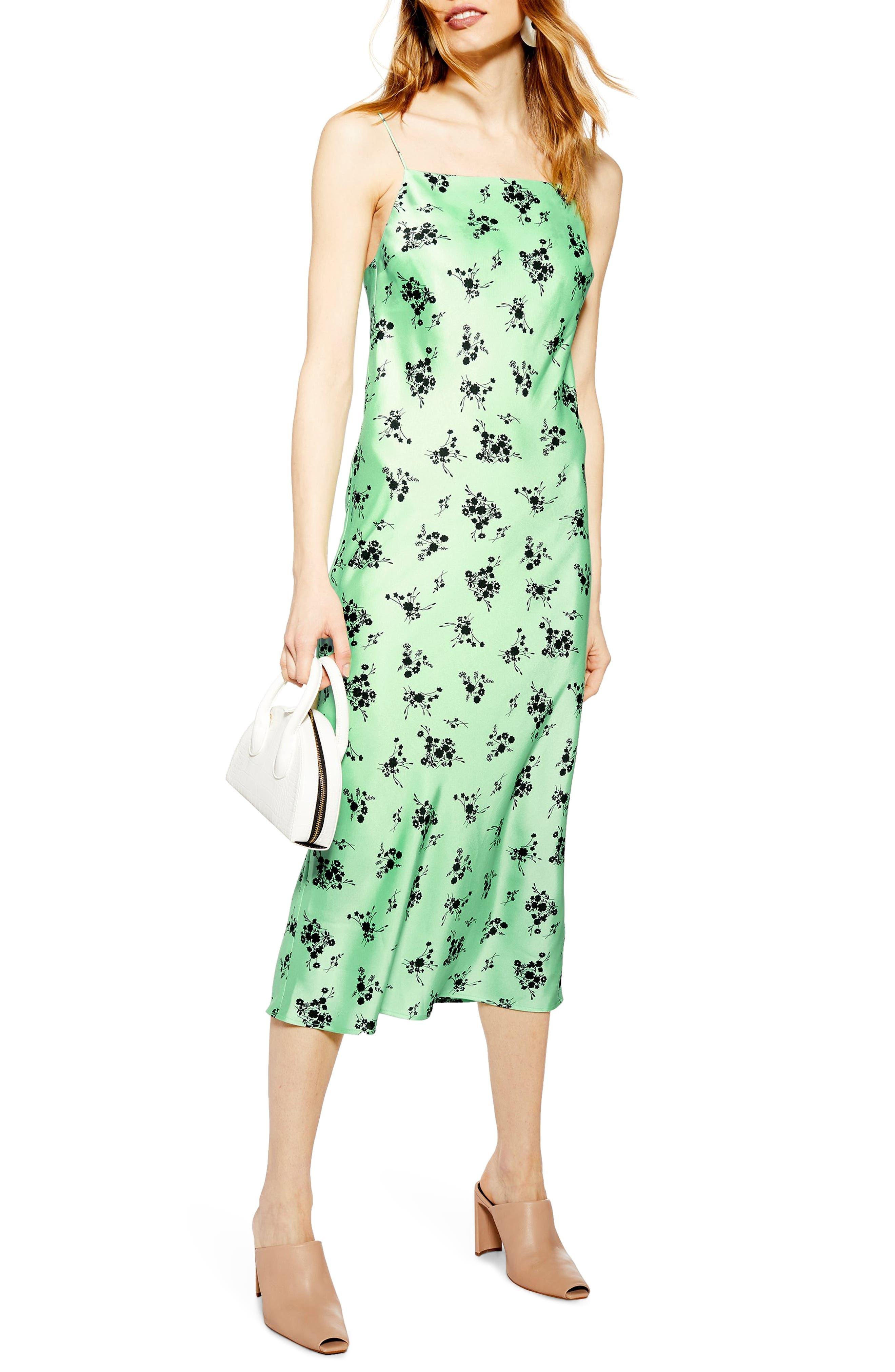 TOPSHOP Apple Flower Satin Slip Dress, Main, color, BRIGHT GREEN MULTI