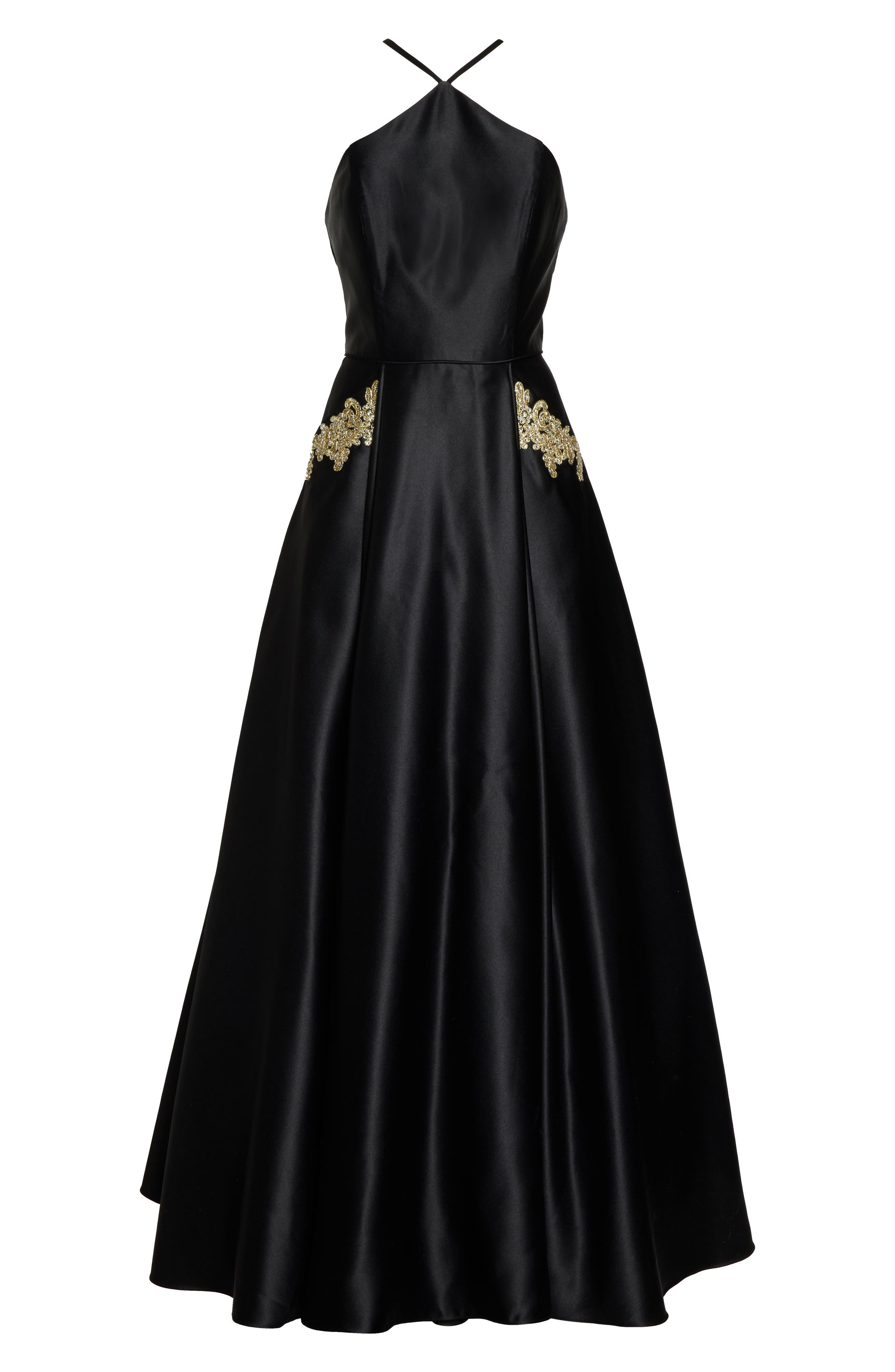 BLONDIE NITES, Halter Neck Embellished Pocket Satin Evening Dress, Alternate thumbnail 7, color, BLACK/ GOLD