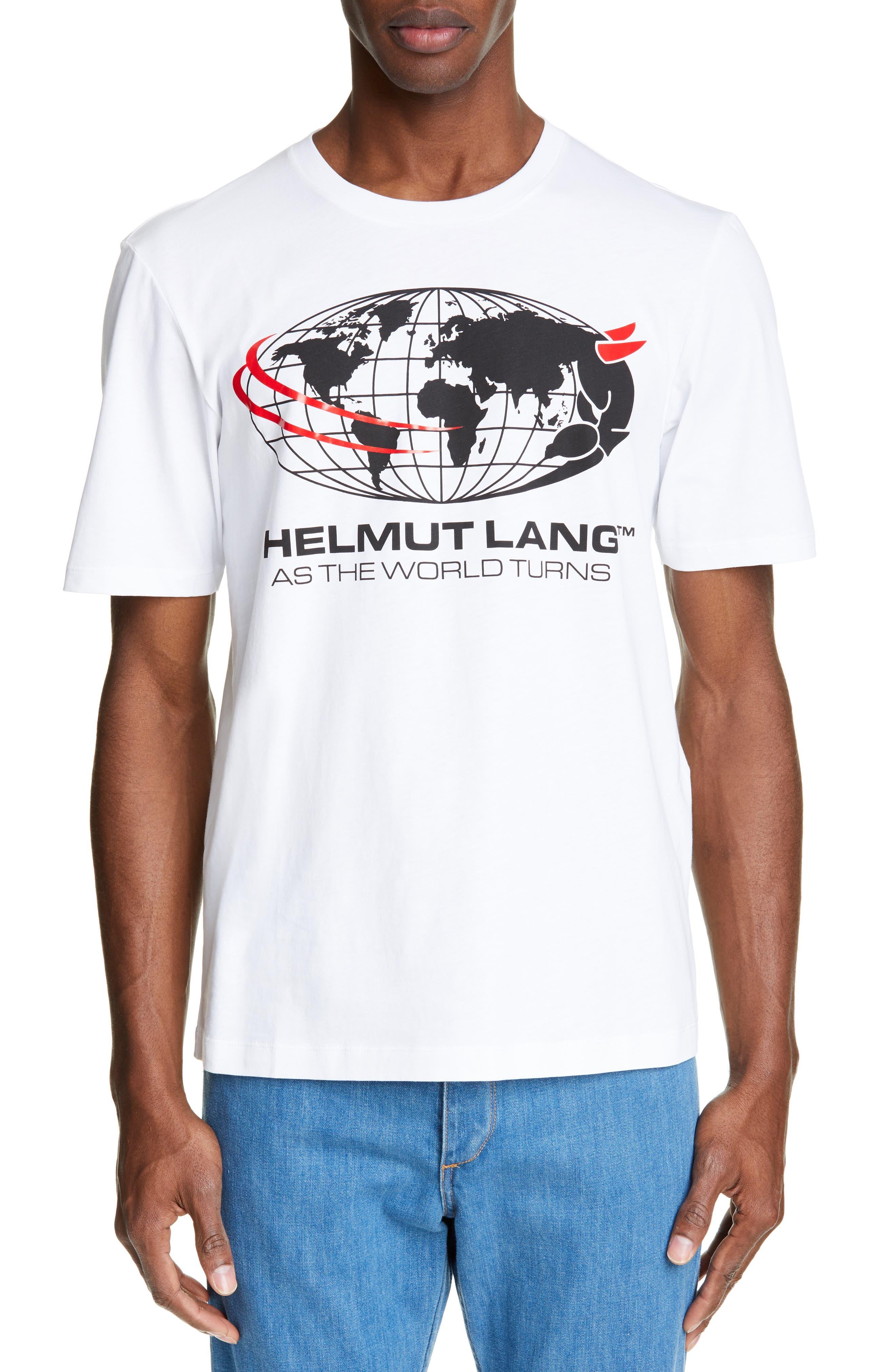 HELMUT LANG, World Turns Graphic T-Shirt, Main thumbnail 1, color, CHALK WHITE