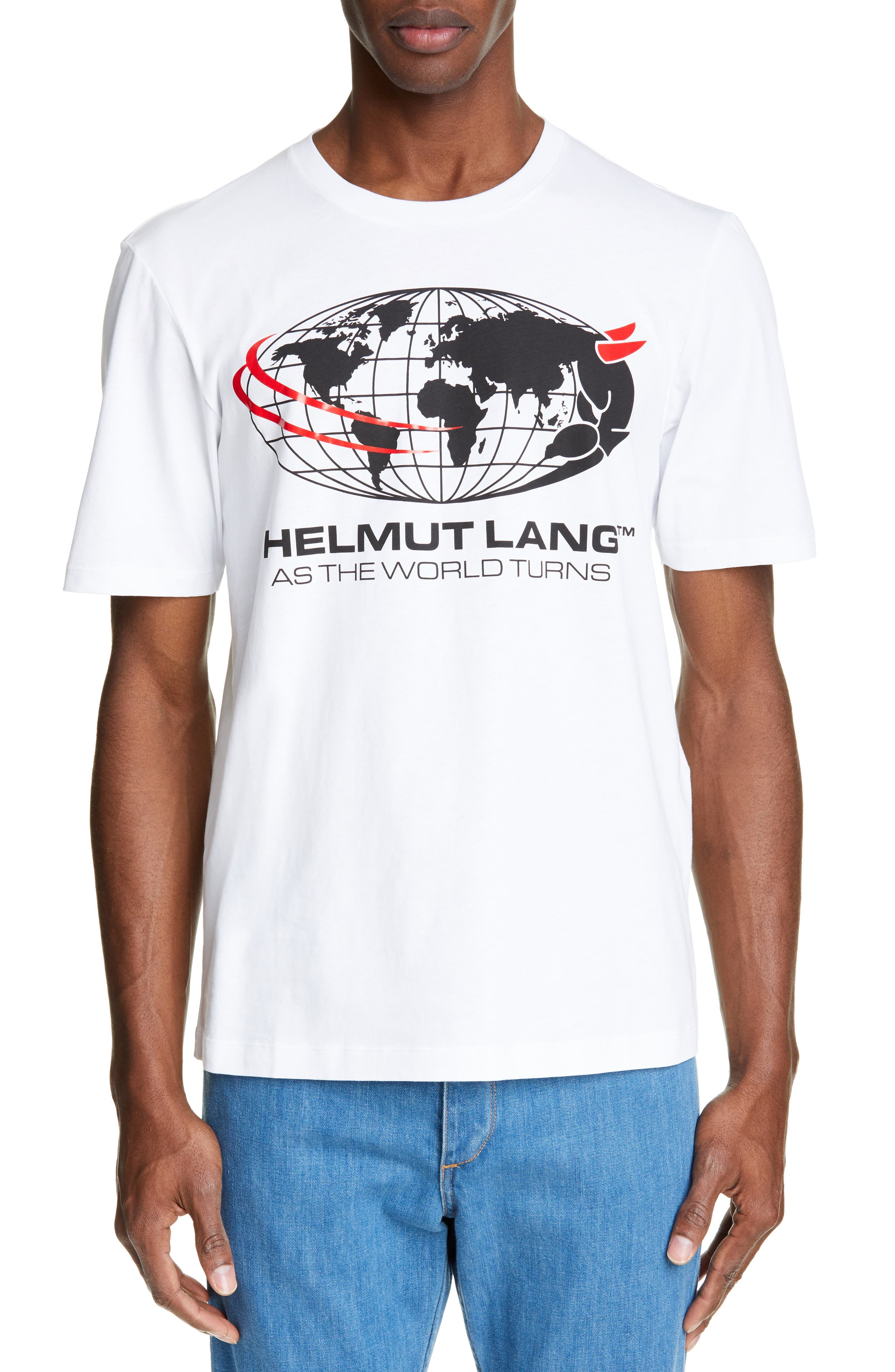 HELMUT LANG World Turns Graphic T-Shirt, Main, color, CHALK WHITE